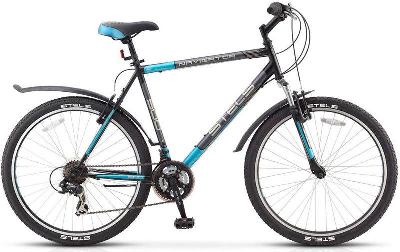 Stels Navigator 500 V (2016)Горные<br>Новинка 2016 года выпуска! Горный велосипед Stels Navigator 500 V имеет оборудование Shimano на 18 скоростей, отличную амортизацию благодаря передней вилке с рабочим ходом 50 мм, установлены ободные тормоза Promax V-brake. Байк эффектный внешне, он обладает настоящим «мужским» характером: быстрый разгон, удобный руль, рациональная конструкция. На велосипеде Stels Навигатор 500 В можно кататься и в городе, и за его пределами. Модель комплектуется подножкой. Диаметр колес - 26 дюймов.<br>