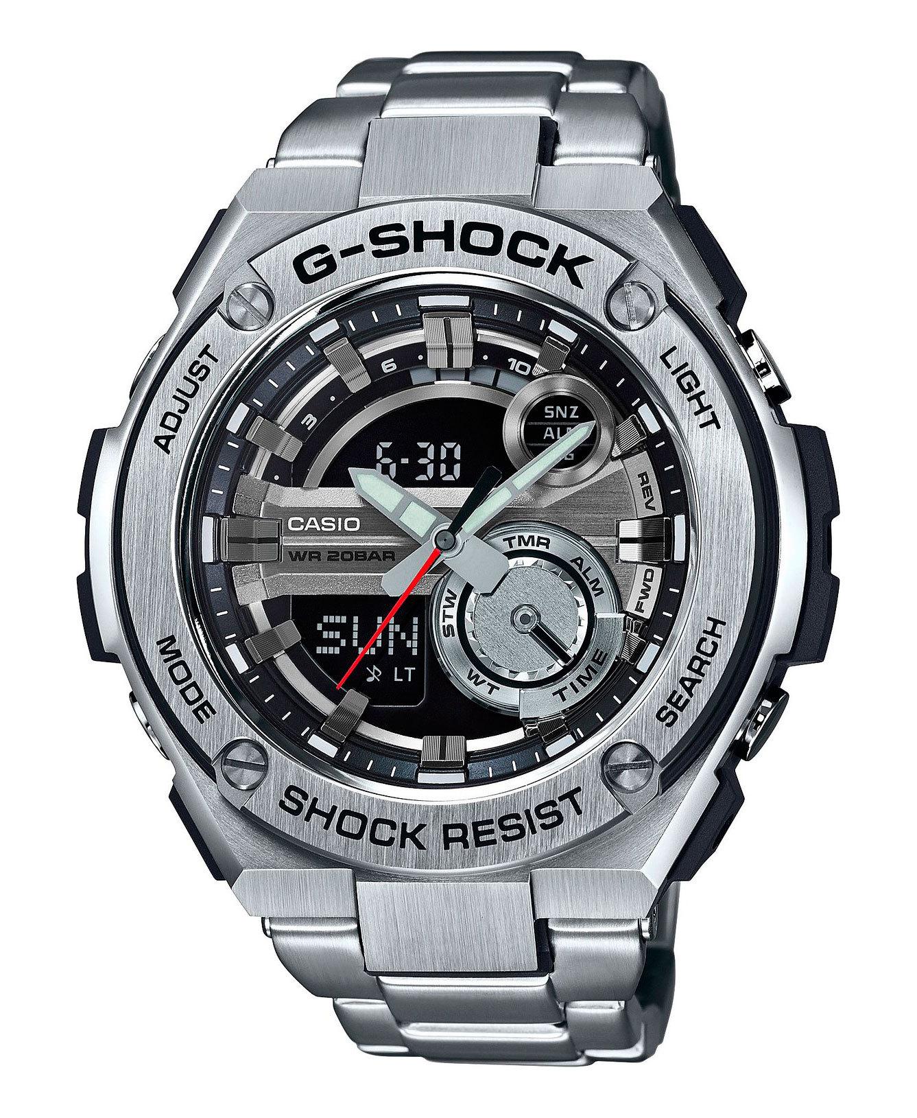 Casio G-SHOCK GST-210D-1A / GST-210D-1AER - мужские наручные часыCasio<br><br><br>Бренд: Casio<br>Модель: Casio GST-210D-1A<br>Артикул: GST-210D-1A<br>Вариант артикула: GST-210D-1AER<br>Коллекция: G-SHOCK<br>Подколлекция: None<br>Страна: Япония<br>Пол: мужские<br>Тип механизма: кварцевые<br>Механизм: None<br>Количество камней: None<br>Автоподзавод: None<br>Источник энергии: от батарейки<br>Срок службы элемента питания: None<br>Дисплей: стрелки + цифры<br>Цифры: None<br>Водозащита: WR 200<br>Противоударные: есть<br>Материал корпуса: нерж. сталь + пластик<br>Материал браслета: нерж. сталь<br>Материал безеля: None<br>Стекло: минеральное<br>Антибликовое покрытие: None<br>Цвет корпуса: None<br>Цвет браслета: None<br>Цвет циферблата: None<br>Цвет безеля: None<br>Размеры: 52.4x59.1x16.1 мм<br>Диаметр: None<br>Диаметр корпуса: None<br>Толщина: None<br>Ширина ремешка: None<br>Вес: 195 г<br>Спорт-функции: секундомер, таймер обратного отсчета<br>Подсветка: дисплея, стрелок<br>Вставка: None<br>Отображение даты: вечный календарь, число, месяц, день недели<br>Хронограф: None<br>Таймер: None<br>Термометр: None<br>Хронометр: None<br>GPS: None<br>Радиосинхронизация: None<br>Барометр: None<br>Скелетон: None<br>Дополнительная информация: None<br>Дополнительные функции: второй часовой пояс, будильник (количество установок: 5)