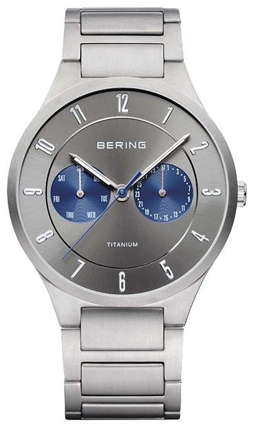 Bering 11539-777 - мужские наручные часыBering<br>мужские, сапфировое стекло, корпус из титана,  браслет из титана, циферблат серого цвета, multifunction<br><br>Бренд: Bering<br>Модель: Bering 11539-777<br>Артикул: 11539-777<br>Вариант артикула: ber-11539-777<br>Коллекция: None<br>Подколлекция: None<br>Страна: Дания<br>Пол: мужские<br>Тип механизма: кварцевые<br>Механизм: None<br>Количество камней: None<br>Автоподзавод: None<br>Источник энергии: от батарейки<br>Срок службы элемента питания: None<br>Дисплей: стрелки<br>Цифры: арабские<br>Водозащита: WR 100<br>Противоударные: None<br>Материал корпуса: титан<br>Материал браслета: титан<br>Материал безеля: None<br>Стекло: сапфировое<br>Антибликовое покрытие: None<br>Цвет корпуса: None<br>Цвет браслета: None<br>Цвет циферблата: None<br>Цвет безеля: None<br>Размеры: 39 мм<br>Диаметр: None<br>Диаметр корпуса: None<br>Толщина: None<br>Ширина ремешка: None<br>Вес: None<br>Спорт-функции: None<br>Подсветка: стрелок<br>Вставка: None<br>Отображение даты: число, день недели<br>Хронограф: None<br>Таймер: None<br>Термометр: None<br>Хронометр: None<br>GPS: None<br>Радиосинхронизация: None<br>Барометр: None<br>Скелетон: None<br>Дополнительная информация: None<br>Дополнительные функции: None
