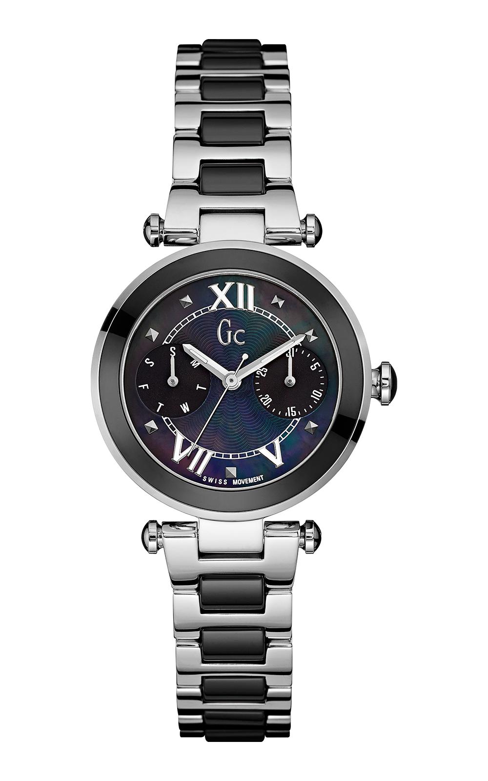 Gc Y06005L2 - женские наручные часы из коллекции Sport ChicGc<br><br><br>Бренд: Gc<br>Модель: Gc Y06005L2<br>Артикул: Y06005L2<br>Вариант артикула: None<br>Коллекция: Sport Chic<br>Подколлекция: None<br>Страна: Швейцария<br>Пол: женские<br>Тип механизма: кварцевые<br>Механизм: Ronda 706<br>Количество камней: None<br>Автоподзавод: None<br>Источник энергии: от батарейки<br>Срок службы элемента питания: None<br>Дисплей: стрелки<br>Цифры: римские<br>Водозащита: WR 100<br>Противоударные: None<br>Материал корпуса: нерж. сталь, частичное покрытие корпуса<br>Материал браслета: нерж. сталь, частичное дополнительное покрытие<br>Материал безеля: None<br>Стекло: минеральное<br>Антибликовое покрытие: None<br>Цвет корпуса: None<br>Цвет браслета: None<br>Цвет циферблата: None<br>Цвет безеля: None<br>Размеры: 32x9.9 мм<br>Диаметр: None<br>Диаметр корпуса: None<br>Толщина: None<br>Ширина ремешка: None<br>Вес: None<br>Спорт-функции: None<br>Подсветка: стрелок<br>Вставка: None<br>Отображение даты: число, день недели<br>Хронограф: None<br>Таймер: None<br>Термометр: None<br>Хронометр: None<br>GPS: None<br>Радиосинхронизация: None<br>Барометр: None<br>Скелетон: None<br>Дополнительная информация: None<br>Дополнительные функции: None