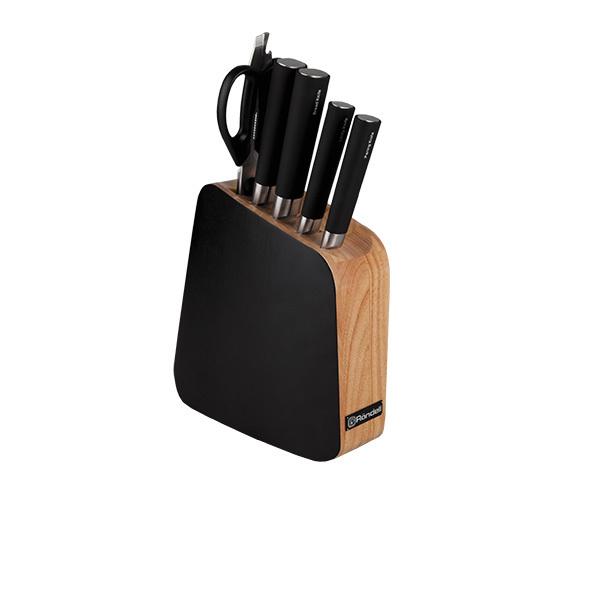 Набор из 4 кухонных ножей, ножниц и подставки Rondell Balestra RD-484Наборы кухонных ножей Rondell<br>Набор из 4кухонных ножей, ножниц и подставки Rondell Balestra RD-484<br><br>В набор RD-484 входит:<br><br>Подставка<br> Нож для хлеба 20 см<br> Нож поварской 18 см<br> Нож универсальный 12.7 см<br>Нож для овощей 9 см<br> Кухонные ножницы<br><br>Высококачественная нержавеющая сталь X30Cr13. Твердость по шкале Роквелла 52-55 HRC. Двусторонняя заточка лезвий. Материал ручки - пластик и нержавеющая сталь. Наклонная деревянная подставка из каучука, одна сторона выкрашена в черный цвет. Упаковка - подарочная коробка. Буклет с инструкциями по украшению блюд. Не подходит для использования в посудомоечной машине.<br>