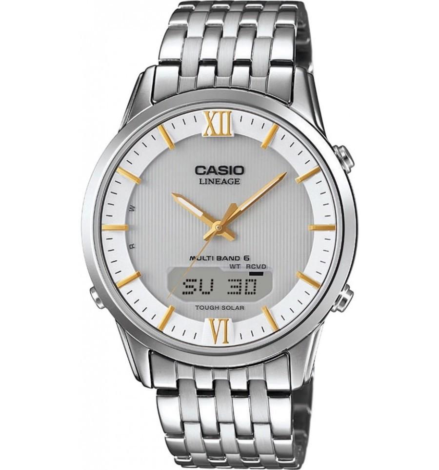 Casio Lineage LCW-M180D-7A / LCW-M180D-7AER - мужские наручные часыCasio<br><br><br>Бренд: Casio<br>Модель: Casio LCW-M180D-7A<br>Артикул: LCW-M180D-7A<br>Вариант артикула: LCW-M180D-7AER<br>Коллекция: Lineage<br>Подколлекция: None<br>Страна: Япония<br>Пол: мужские<br>Тип механизма: кварцевые<br>Механизм: None<br>Количество камней: None<br>Автоподзавод: None<br>Источник энергии: от солнечной батареи<br>Срок службы элемента питания: None<br>Дисплей: стрелки + цифры<br>Цифры: римские<br>Водозащита: WR 50<br>Противоударные: None<br>Материал корпуса: нерж. сталь<br>Материал браслета: нерж. сталь<br>Материал безеля: None<br>Стекло: сапфировое<br>Антибликовое покрытие: None<br>Цвет корпуса: None<br>Цвет браслета: None<br>Цвет циферблата: None<br>Цвет безеля: None<br>Размеры: 39.5x46.5x9.4 мм<br>Диаметр: None<br>Диаметр корпуса: None<br>Толщина: None<br>Ширина ремешка: None<br>Вес: 118 г<br>Спорт-функции: секундомер, таймер обратного отсчета<br>Подсветка: дисплея, стрелок<br>Вставка: None<br>Отображение даты: вечный календарь, число, день недели<br>Хронограф: None<br>Таймер: None<br>Термометр: None<br>Хронометр: None<br>GPS: None<br>Радиосинхронизация: есть<br>Барометр: None<br>Скелетон: None<br>Дополнительная информация: функция включения/отключения звука кнопок, коррекция времени по радиосигналу, ежечасный сигнал<br>Дополнительные функции: индикатор запаса хода, второй часовой пояс, будильник (количество установок: 5)