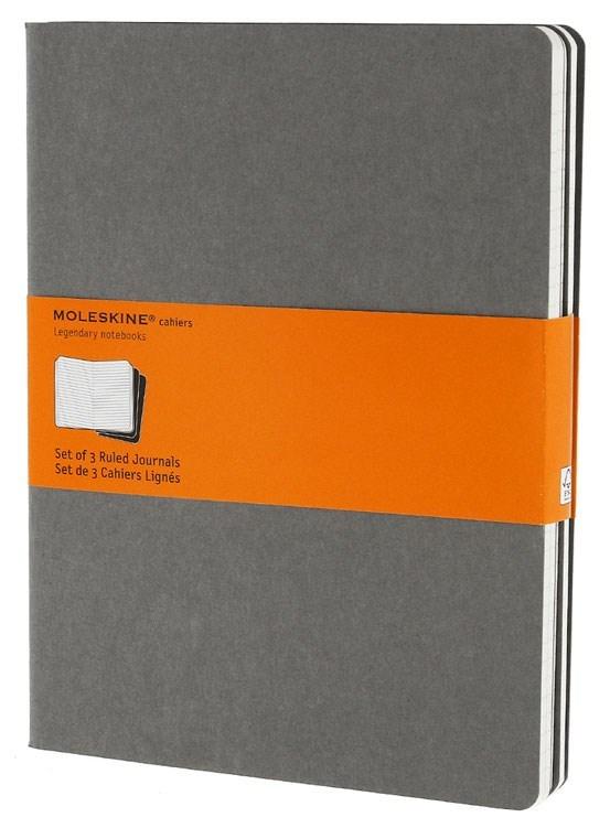 Набор 3 блокнота Moleskine Cahier Journal XL, цвет серый, в линейкуMOLESKINE<br>Количество в упаковке: 3<br><br><br><br><br><br><br>Количество страниц: 120<br>