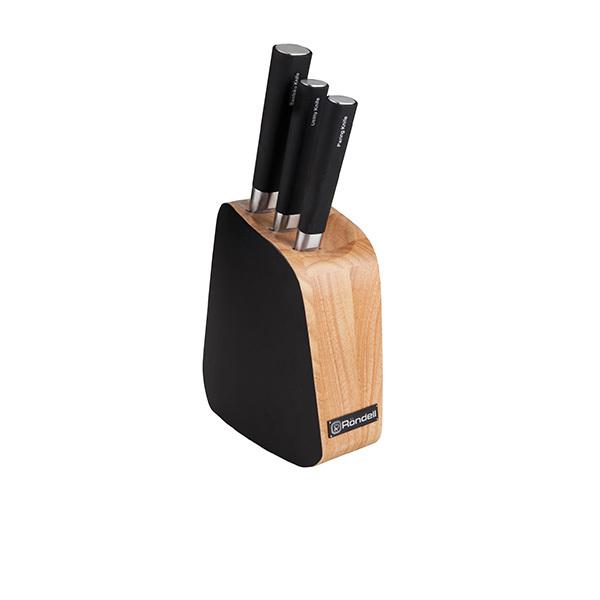 Набор из 3 кухонных ножей и подставки Rondell Balestra RD-485Наборы кухонных ножей Rondell<br>Набор из 3 кухонных ножей и подставки Rondell Balestra RD-485<br><br>В набор RD-485 входит:<br><br>Подставка <br>Нож Santoku 14 см <br>Нож универсальный 12.7 см <br>Нож для овощей 9 см<br><br>Высококачественная нержавеющая сталь X30Cr13. Твердость по шкале Роквелла 52-55 HRC. Двусторонняя заточка лезвий. Материал ручки - пластик и нержавеющая сталь. Наклонная деревянная подставка из каучука, одна сторона выкрашена в черный цвет. Упаковка - подарочная коробка. Буклет с инструкциями по украшению блюд. Не подходит для использования в посудомоечной машине.<br>