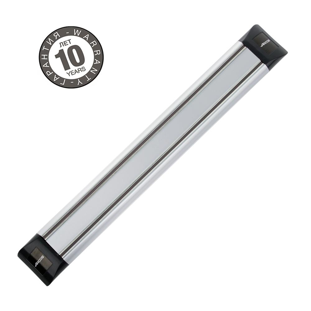 Магнитный держатель 30 см ARCOS Varios арт. 6925Магнитные держатели для ножей<br>Осовободить рабочую поверхность на небольшой кухнеисохранить ножи острыми дольше.<br>Магнитный держатель для металлических кухонных ножей, ножниц крепится на стену или дверцу шкафа. В отличие от подставки для ножей - не занимает место на рабочей поверхности. Можно повесить в любомместе, удобном для правшей и левшей. <br>Кухонные ножи при правильном хранении, когда их лезвия не соприкасаются с друг другом или иными металлическими предметами, как это случается при хранении в ящике, дольше держат заточку.<br>