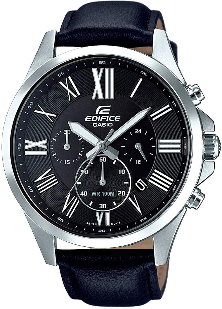 Casio Edifice EFV-500L-1A / EFV-500L-1AER - мужские наручные часыCasio<br><br><br>Бренд: Casio<br>Модель: Casio EFV-500L-1A<br>Артикул: EFV-500L-1A<br>Вариант артикула: EFV-500L-1AER<br>Коллекция: Edifice<br>Подколлекция: None<br>Страна: Япония<br>Пол: мужские<br>Тип механизма: кварцевые<br>Механизм: None<br>Количество камней: None<br>Автоподзавод: None<br>Источник энергии: от батарейки<br>Срок службы элемента питания: None<br>Дисплей: стрелки<br>Цифры: римские<br>Водозащита: WR 100<br>Противоударные: None<br>Материал корпуса: нерж. сталь<br>Материал браслета: кожа<br>Материал безеля: None<br>Стекло: минеральное<br>Антибликовое покрытие: None<br>Цвет корпуса: None<br>Цвет браслета: None<br>Цвет циферблата: None<br>Цвет безеля: None<br>Размеры: 47.2x54x12.1 мм<br>Диаметр: None<br>Диаметр корпуса: None<br>Толщина: None<br>Ширина ремешка: None<br>Вес: 80 г<br>Спорт-функции: секундомер<br>Подсветка: стрелок<br>Вставка: None<br>Отображение даты: число<br>Хронограф: есть<br>Таймер: None<br>Термометр: None<br>Хронометр: None<br>GPS: None<br>Радиосинхронизация: None<br>Барометр: None<br>Скелетон: None<br>Дополнительная информация: элемент питания SR920SW<br>Дополнительные функции: None