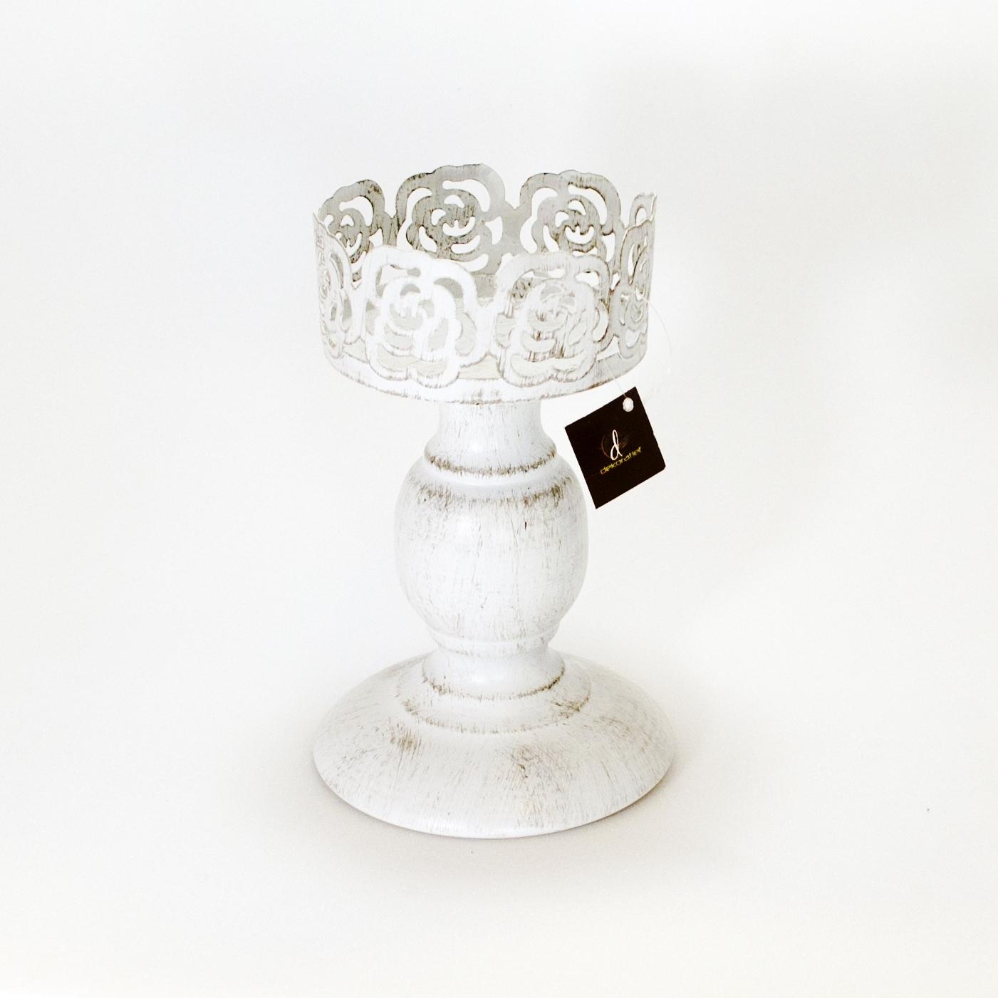Подсвечник средний без стекла (Мебель и предметы интерьера)Мебель и предметы интерьера<br>Металлический подсвечник на ножке без стекла10x10x16 см Производитель: Dekoratief, Бельгия<br>