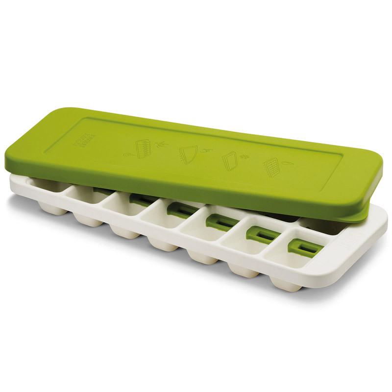 Форма для льда Joseph Joseph quicksnap plus зеленая/белая 20018Бар и вечеринки<br>Форма для льда Joseph Joseph quicksnap plus зеленая/белая 20018<br><br>Иногда из формы для льда сложно достать один конкретный кубик: они либо высыпаются все, либо ни одного. В этой форме каждая ячейка оснащена специальной кнопкой, которая позволяет точечно достать отдельные льдинки - и отправить их сразу в стакан. Версия Plus оснащена герметичной крышкой, которая позволяет предотвратить разлив воды, плюс защищает лёд от запахов других продуктов в морозильнике. Ёмкость вмещает 14 кубиков. Налейте воду, заморозьте. Для извлечения скрутите форму и нажмите на силиконовую кнопку. Форму можно мыть в посудомоечной машине.<br>Официальный продавец<br>