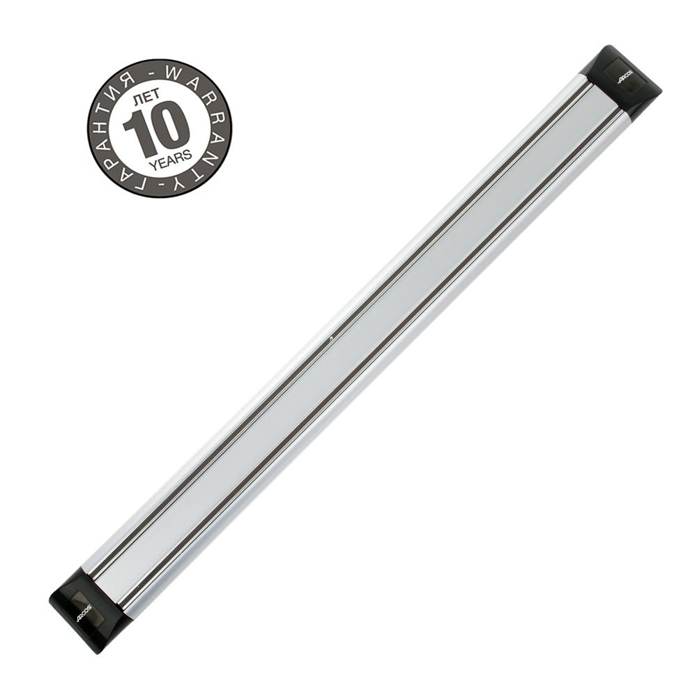 Магнитный держатель 45 см ARCOS Varios арт. 6926Магнитные держатели для ножей<br>Осовободить рабочую поверхность на небольшой кухнеисохранить ножи острыми дольше.<br>Магнитный держатель для металлических кухонных ножей, ножниц крепится на стену или дверцу шкафа. В отличие от подставки для ножей - не занимает место на рабочей поверхности. Можно повесить в любомместе, удобном для правшей и левшей. <br>Кухонные ножи при правильном хранении, когда их лезвия не соприкасаются с друг другом или иными металлическими предметами, как это случается при хранении в ящике, дольше держат заточку.<br>