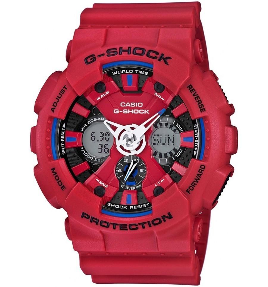 Casio G-SHOCK GA-120TR-4A / GA-120TR-4AER - мужские наручные часыCasio<br><br><br>Бренд: Casio<br>Модель: Casio GA-120TR-4A<br>Артикул: GA-120TR-4A<br>Вариант артикула: GA-120TR-4AER<br>Коллекция: G-SHOCK<br>Подколлекция: None<br>Страна: Япония<br>Пол: мужские<br>Тип механизма: кварцевые<br>Механизм: None<br>Количество камней: None<br>Автоподзавод: None<br>Источник энергии: от батарейки<br>Срок службы элемента питания: None<br>Дисплей: стрелки + цифры<br>Цифры: отсутствуют<br>Водозащита: WR 200<br>Противоударные: есть<br>Материал корпуса: пластик<br>Материал браслета: каучук<br>Материал безеля: None<br>Стекло: минеральное<br>Антибликовое покрытие: None<br>Цвет корпуса: None<br>Цвет браслета: None<br>Цвет циферблата: None<br>Цвет безеля: None<br>Размеры: 51.2x55x16.9 мм<br>Диаметр: None<br>Диаметр корпуса: None<br>Толщина: None<br>Ширина ремешка: None<br>Вес: 73 г<br>Спорт-функции: секундомер, таймер обратного отсчета<br>Подсветка: дисплея, стрелок<br>Вставка: None<br>Отображение даты: вечный календарь, число, месяц, день недели<br>Хронограф: None<br>Таймер: None<br>Термометр: None<br>Хронометр: None<br>GPS: None<br>Радиосинхронизация: None<br>Барометр: None<br>Скелетон: None<br>Дополнительная информация: функция антимагнит, автоподсветка, ежечасный сигнал, повтор сигнала будильника, элемент питания CR1220, срок службы батарейки 3 года<br>Дополнительные функции: второй часовой пояс, будильник (количество установок: 5)
