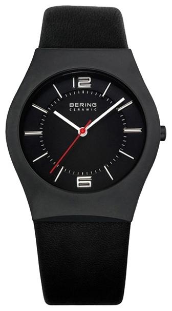 Bering 32035-642 - мужские наручные часы из коллекции CeramicBering<br>сапфировое стекло, корпус из керамики черного цвета,  ремешок из кожи теленка черного цвета, циферблат черного цвета, центральная секундная стрелка<br><br>Бренд: Bering<br>Модель: Bering 32035-642<br>Артикул: 32035-642<br>Вариант артикула: ber-32035-642<br>Коллекция: Ceramic<br>Подколлекция: None<br>Страна: Дания<br>Пол: мужские<br>Тип механизма: кварцевые<br>Механизм: None<br>Количество камней: None<br>Автоподзавод: None<br>Источник энергии: от батарейки<br>Срок службы элемента питания: None<br>Дисплей: стрелки<br>Цифры: арабские<br>Водозащита: WR 30<br>Противоударные: None<br>Материал корпуса: керамика<br>Материал браслета: кожа (теленок)<br>Материал безеля: None<br>Стекло: сапфировое<br>Антибликовое покрытие: None<br>Цвет корпуса: None<br>Цвет браслета: None<br>Цвет циферблата: None<br>Цвет безеля: None<br>Размеры: 35 мм<br>Диаметр: None<br>Диаметр корпуса: None<br>Толщина: None<br>Ширина ремешка: None<br>Вес: None<br>Спорт-функции: None<br>Подсветка: None<br>Вставка: None<br>Отображение даты: None<br>Хронограф: None<br>Таймер: None<br>Термометр: None<br>Хронометр: None<br>GPS: None<br>Радиосинхронизация: None<br>Барометр: None<br>Скелетон: None<br>Дополнительная информация: None<br>Дополнительные функции: None