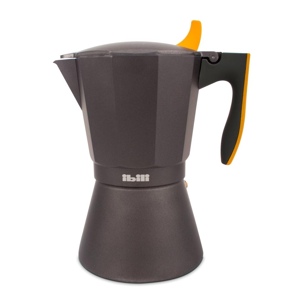 Кофеварка гейзерная на 12 чашек, алюминий, для индукционных плит, ручка оранжевая IBILI Sensive арт. 622212Посуда для приготовления IBILI (Испания)<br>крышка:естьматериал:алюминийпредметов в наборе (штук):1ручки:фиксированныестрана:Испаниятип варочной поверхности:все типы поверхностей<br><br>Официальный продавец IBILI<br>