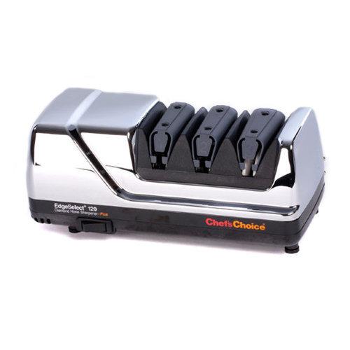 Станок для заточки ножей Chef's Choice CH/120HЭлектрические точилки для ножей<br>Станок для заточки ножей Chef's Choice CH/120H<br><br>Описание<br>Элегантный электрический точильный станок с хромированным корпусом выполняет трехуровневую заточку обычных ножей различного назначения, а также серрейторных лезвий. <br>Благодаря продуманной конструкции получить нужный результат можно не только легко, но и быстро, причем острота режущей кромки сохранится надолго. На первых двух этапах заточка происходит при помощи 100%-го алмазного абразива. Финишная обработка предусматривает доводку и полировку специальными подвижными полирующими дисками. <br>В станке реализована одна из последних разработок производителя – возможность получить на режущей кромке микроскопическую пилу, которая идеальна для разделки волокнистых продуктов. Прибор выглядит стильно благодаря оригинальному цветовому оформлению корпуса. Станок имеет компактные габариты, удобен в эксплуатации и не требует специального сложного ухода.<br><br><br>Как выбрать электрическую точилку<br>