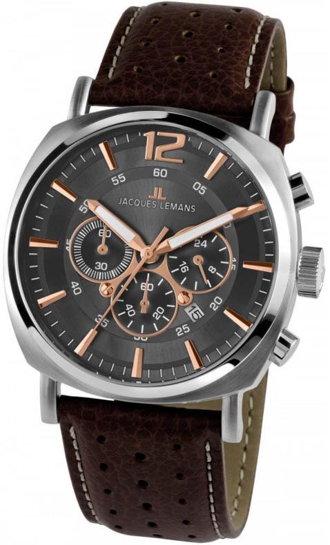 Jacques Lemans 1-1645H - мужские наручные часы из коллекции LuganoJacques Lemans<br><br><br>Бренд: Jacques Lemans<br>Модель: Jacques Lemans 1-1645H<br>Артикул: 1-1645H<br>Вариант артикула: None<br>Коллекция: Lugano<br>Подколлекция: None<br>Страна: Австрия<br>Пол: мужские<br>Тип механизма: кварцевые<br>Механизм: None<br>Количество камней: None<br>Автоподзавод: None<br>Источник энергии: от батарейки<br>Срок службы элемента питания: None<br>Дисплей: стрелки<br>Цифры: арабские<br>Водозащита: WR 10<br>Противоударные: None<br>Материал корпуса: нерж. сталь<br>Материал браслета: кожа<br>Материал безеля: None<br>Стекло: Crystex<br>Антибликовое покрытие: None<br>Цвет корпуса: None<br>Цвет браслета: None<br>Цвет циферблата: None<br>Цвет безеля: None<br>Размеры: 46 мм<br>Диаметр: None<br>Диаметр корпуса: None<br>Толщина: None<br>Ширина ремешка: None<br>Вес: None<br>Спорт-функции: секундомер<br>Подсветка: стрелок<br>Вставка: None<br>Отображение даты: число<br>Хронограф: есть<br>Таймер: None<br>Термометр: None<br>Хронометр: None<br>GPS: None<br>Радиосинхронизация: None<br>Барометр: None<br>Скелетон: None<br>Дополнительная информация: None<br>Дополнительные функции: None