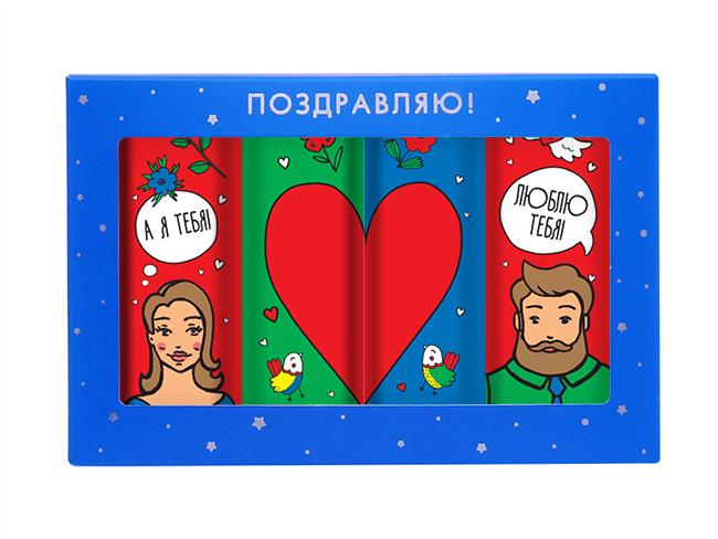 Шоколадный набор «Для влюбленных»Шоколад<br>Шоколадный подарок влюбленным<br>Кому подарить: любимым на 14 февраля, понравится и девушкам, и парням, всем кто любит нежный молочный шоколад;<br>Что внутри: 4 плитки молочного шоколада в индивидуальной упаковке;<br>Упаковка и дизайн: качественный картон с удобными уголками, для ловкого открытия шоколадки с романтичными влюбленными.<br>Вес:80 г.<br>