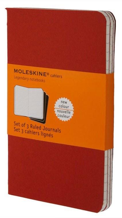 Набор 3 блокнота Moleskine Cahier Journal Large, цвет клюквенный, в линейкуMOLESKINE<br><br>