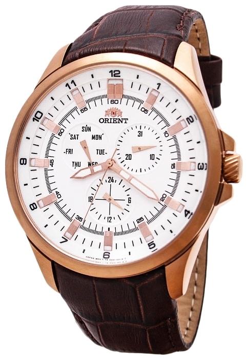 Orient SX01004W / FSX01004W0 - мужские наручные часыORIENT<br><br><br>Бренд: ORIENT<br>Модель: ORIENT SX01004W<br>Артикул: SX01004W<br>Вариант артикула: FSX01004W0<br>Коллекция: None<br>Подколлекция: None<br>Страна: Япония<br>Пол: мужские<br>Тип механизма: кварцевые<br>Механизм: None<br>Количество камней: None<br>Автоподзавод: None<br>Источник энергии: от батарейки<br>Срок службы элемента питания: None<br>Дисплей: стрелки<br>Цифры: арабские<br>Водозащита: WR 50<br>Противоударные: None<br>Материал корпуса: нерж. сталь, PVD покрытие: позолота (полное)<br>Материал браслета: кожа (не указан)<br>Материал безеля: None<br>Стекло: минеральное<br>Антибликовое покрытие: None<br>Цвет корпуса: None<br>Цвет браслета: None<br>Цвет циферблата: None<br>Цвет безеля: None<br>Размеры: 46x54x9.5 мм<br>Диаметр: None<br>Диаметр корпуса: None<br>Толщина: None<br>Ширина ремешка: None<br>Вес: None<br>Спорт-функции: None<br>Подсветка: стрелок<br>Вставка: None<br>Отображение даты: число, день недели<br>Хронограф: None<br>Таймер: None<br>Термометр: None<br>Хронометр: None<br>GPS: None<br>Радиосинхронизация: None<br>Барометр: None<br>Скелетон: None<br>Дополнительная информация: None<br>Дополнительные функции: None