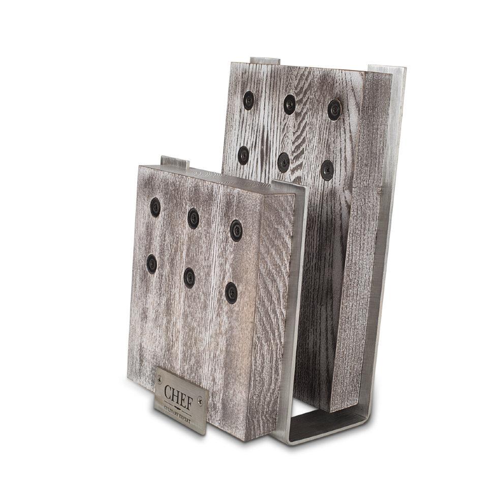 Подставка для ножей с магнитными держателями, ясень и сталь, Chef, CH-001/BLWМагнитные держатели для ножей<br>Основание подставки для ножей CHEF CH-001/BLW изготовлено из экологически чистой нержавеющей стали и натурального дерева (ясеня). Стальная рамка обладает такими уникальными качествами, как долговечность и особая прочность. <br>Подставка для ножей CHEF CH-001/BLW состоит из двух отделений, которые позволяют располагать большое количество ножей. Особая открытая конструкция предполагает прочную фиксацию клинков в вертикальном положении. Ультрасильные магниты с легкостью выдерживают вес шести ножей. <br>Данная модель отличается простотой в уходе и сохраняет остроту фиксируемых ножей.<br>