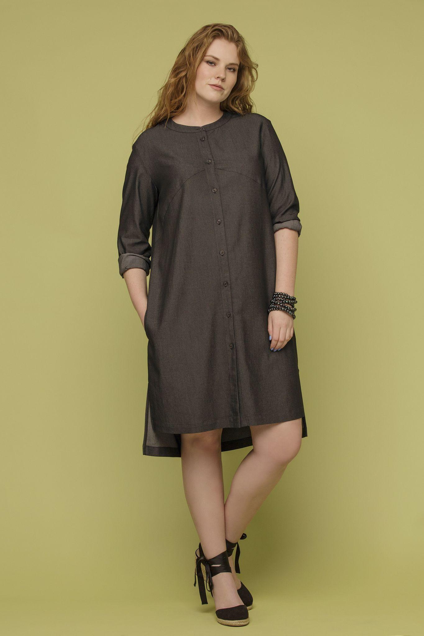 Платье LE-04 D02 32Платья<br>Платье-рубашка из тонкой и пластичной джинсы, создаст тот самый, нужный и правильный образ  в вашем  гардеробе. Идеально для жаркой погоды, как платье , а для прохладной, как очень легкий кардиган. Разноуровневый низ - небольшаой акцент, который делает образ запоминающимся и ярким. Ограниченный тираж!<br>