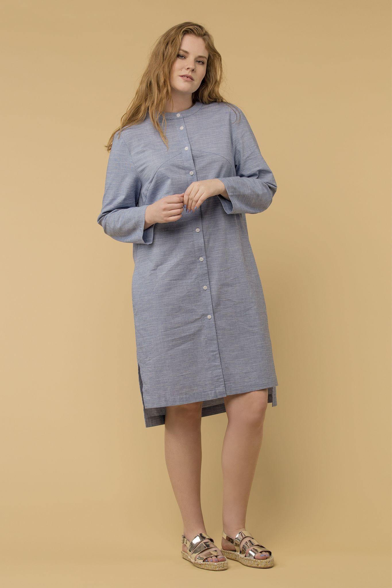 Платье LE-04 D02 91Платья<br>Платье-рубашка из  хлопка в тонкую полоску хорошая базовая летнаяя вещь. Идеально для жаркой погоды, как платье , а для прохладной, как очень легкий кардиган. Разноуровневый низ - вкусная деталь, тираж ограничен.<br>