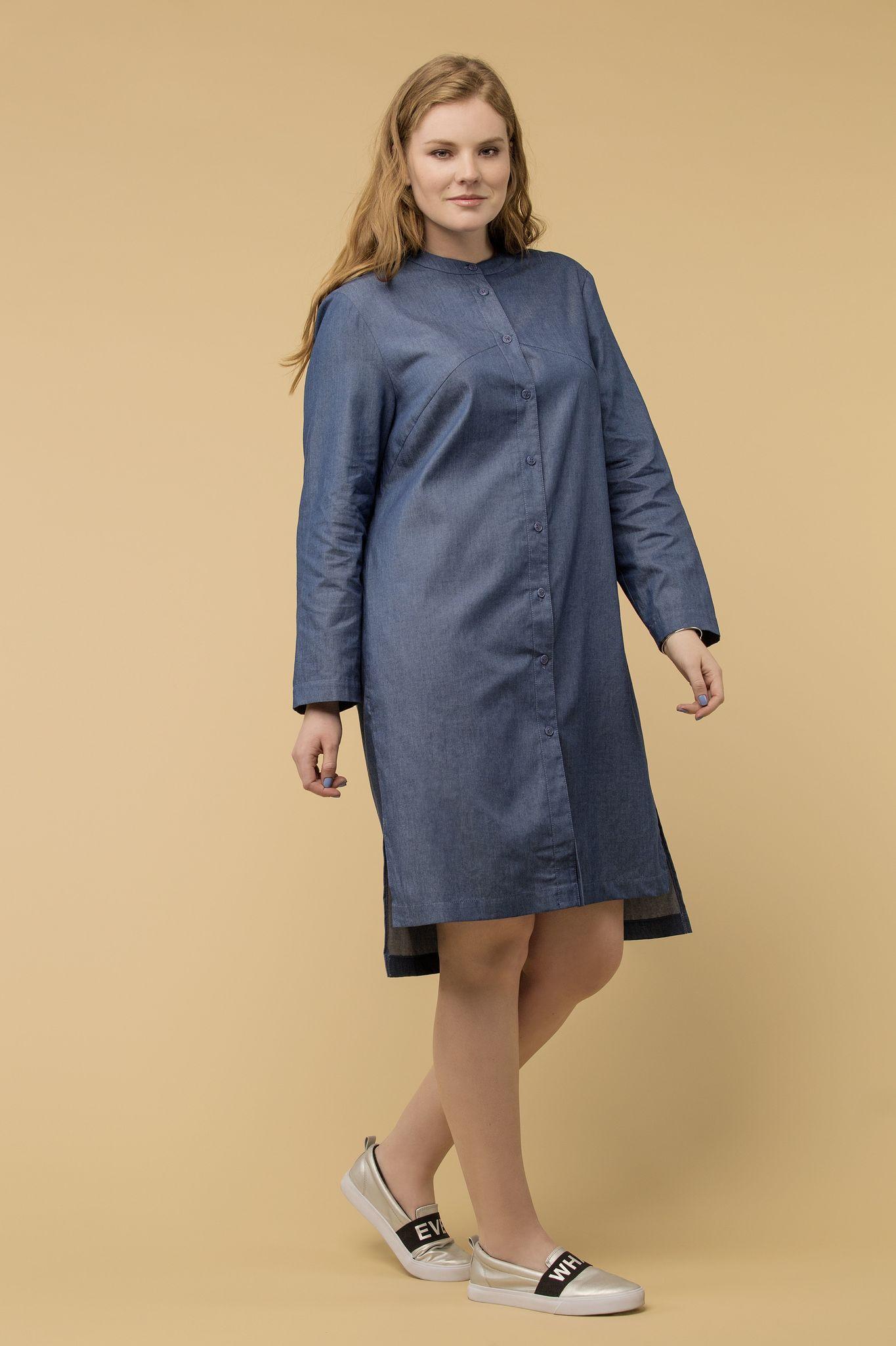 Платье LE-04 D02 20Платья<br>Платье-рубашка из тонкой и пластичной джинсы, создаст тот самый, нужный и правильный образ  в вашем  гардеробе. Идеально для жаркой погоды, как платье , а для прохладной, как очень легкий кардиган. Разноуровневый низ - небольшаой акцент, который делает образ запоминающимся и ярким. Ограниченный тираж!<br>