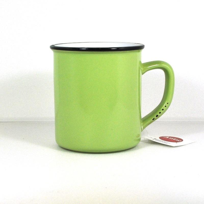 Винтажная кружка зеленая (Фарфор и керамика Antic Line)Фарфор и керамика Antic Line<br>Винтажная кружка зеленая <br>400 мл, высота 10 см <br>Керамика, стилизовано под эмалированный металл     <br>Antic Line, Франция<br>