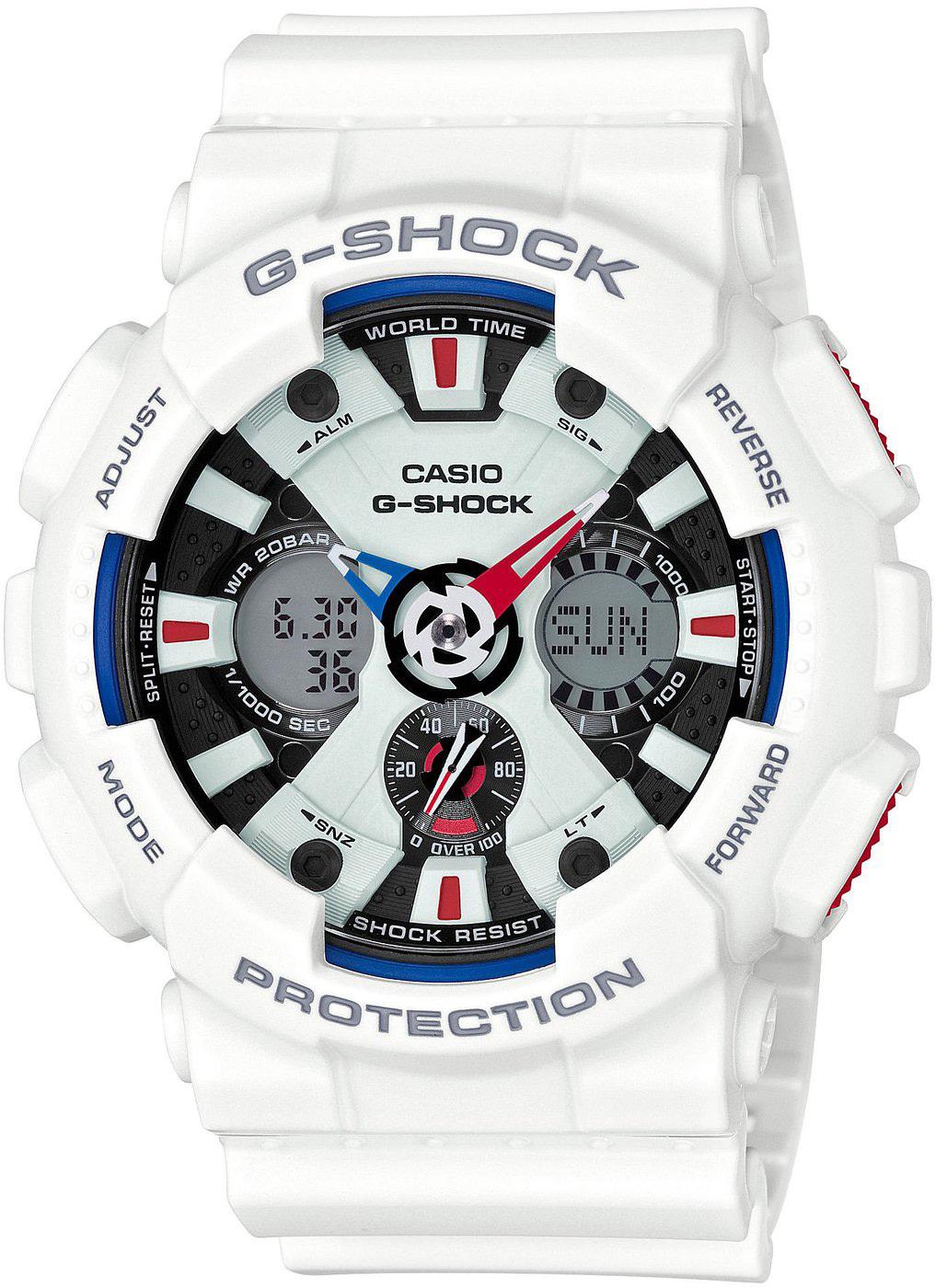 Casio G-SHOCK GA-120TR-7A / GA-120TR-7AER - мужские наручные часыCasio<br><br><br>Бренд: Casio<br>Модель: Casio GA-120TR-7A<br>Артикул: GA-120TR-7A<br>Вариант артикула: GA-120TR-7AER<br>Коллекция: G-SHOCK<br>Подколлекция: None<br>Страна: Япония<br>Пол: мужские<br>Тип механизма: кварцевые<br>Механизм: None<br>Количество камней: None<br>Автоподзавод: None<br>Источник энергии: от батарейки<br>Срок службы элемента питания: None<br>Дисплей: стрелки + цифры<br>Цифры: отсутствуют<br>Водозащита: WR 200<br>Противоударные: есть<br>Материал корпуса: пластик<br>Материал браслета: каучук<br>Материал безеля: None<br>Стекло: минеральное<br>Антибликовое покрытие: None<br>Цвет корпуса: None<br>Цвет браслета: None<br>Цвет циферблата: None<br>Цвет безеля: None<br>Размеры: 51.2x55x16.9 мм<br>Диаметр: None<br>Диаметр корпуса: None<br>Толщина: None<br>Ширина ремешка: None<br>Вес: 73 г<br>Спорт-функции: секундомер, таймер обратного отсчета<br>Подсветка: дисплея, стрелок<br>Вставка: None<br>Отображение даты: вечный календарь, число, месяц, день недели<br>Хронограф: None<br>Таймер: None<br>Термометр: None<br>Хронометр: None<br>GPS: None<br>Радиосинхронизация: None<br>Барометр: None<br>Скелетон: None<br>Дополнительная информация: функция антимагнит, автоподсветка, ежечасный сигнал, повтор сигнала будильника, элемент питания CR1220, срок службы батарейки 3 года<br>Дополнительные функции: второй часовой пояс, будильник (количество установок: 5)