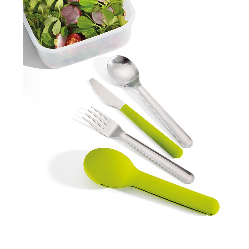 Набор столовых приборов Joseph Joseph GoEat™ Cutlery Set зелёный 81033Столовые приборы для ланч-боксов<br>Удобный комплект приборов для обедов вне дома. Стильный набор включает нож с магнитной рукояткой, вилку и ложку. В комплекте идет силиконовый чехол, который позволяет держать приборы в порядке, а сумку – в чистоте. Можно мыть в посудомоечной машине.<br>Официальный продавец<br>