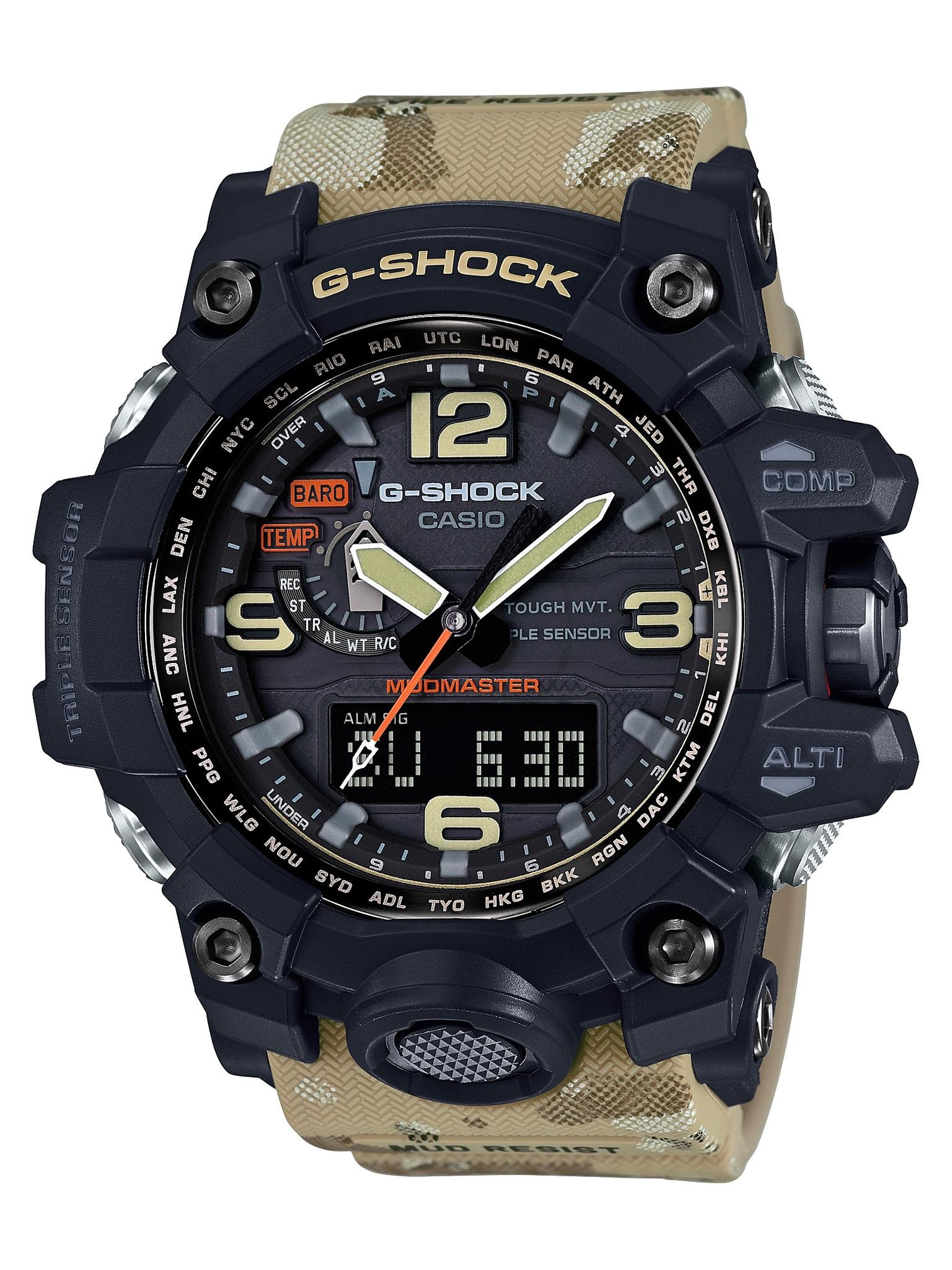 Casio G-SHOCK GWG-1000DC-1A5 / GWG-1000DC-1A5ER - мужские наручные часыCasio<br><br><br>Бренд: Casio<br>Модель: Casio GWG-1000DC-1A5<br>Артикул: GWG-1000DC-1A5<br>Вариант артикула: GWG-1000DC-1A5ER<br>Коллекция: G-SHOCK<br>Подколлекция: MUDMASTER<br>Страна: Япония<br>Пол: мужские<br>Тип механизма: кварцевые<br>Механизм: None<br>Количество камней: None<br>Автоподзавод: None<br>Источник энергии: от солнечной батареи<br>Срок службы элемента питания: None<br>Дисплей: None<br>Цифры: арабские<br>Водозащита: WR 200<br>Противоударные: есть<br>Материал корпуса: нерж. сталь + пластик<br>Материал браслета: пластик<br>Материал безеля: None<br>Стекло: сапфировое<br>Антибликовое покрытие: None<br>Цвет корпуса: None<br>Цвет браслета: None<br>Цвет циферблата: None<br>Цвет безеля: None<br>Размеры: None<br>Диаметр: None<br>Диаметр корпуса: None<br>Толщина: None<br>Ширина ремешка: None<br>Вес: 119 г<br>Спорт-функции: секундомер, таймер обратного отсчета, высотомер, барометр, термометр, компас<br>Подсветка: дисплея, стрелок<br>Вставка: None<br>Отображение даты: вечный календарь, число, день недели<br>Хронограф: None<br>Таймер: None<br>Термометр: None<br>Хронометр: None<br>GPS: None<br>Радиосинхронизация: есть<br>Барометр: None<br>Скелетон: None<br>Дополнительная информация: ежечасный сигнал, функция сохранения энергии, функция включения/отключения звука кнопок, функция Flash alert, функция перемещения стрелок, виброзащита, защита от грязи, время работы аккумулятора без подзарядки с использованием функции сохранения энергии 25 месяцев<br>Дополнительные функции: индикатор запаса хода, второй часовой пояс, будильник (количество установок: 5)
