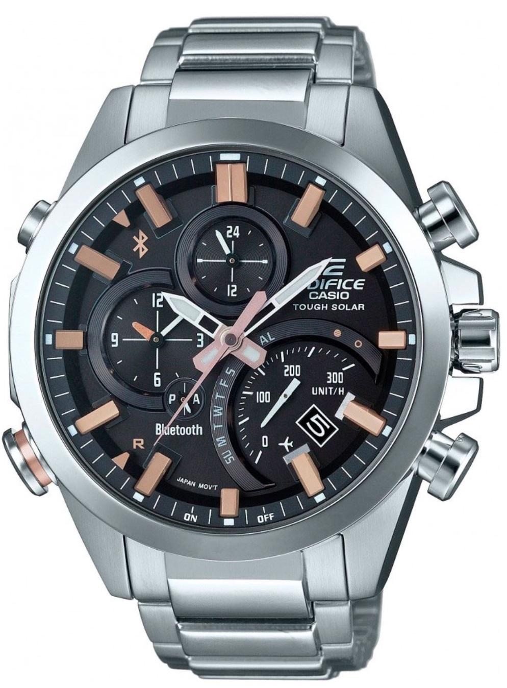 Casio Edifice EQB-500D-1A2 / EQB-500D-1A2ER - мужские наручные часыCasio<br><br><br>Бренд: Casio<br>Модель: Casio EQB-500D-1A2<br>Артикул: EQB-500D-1A2<br>Вариант артикула: EQB-500D-1A2ER<br>Коллекция: Edifice<br>Подколлекция: None<br>Страна: Япония<br>Пол: мужские<br>Тип механизма: кварцевые<br>Механизм: None<br>Количество камней: None<br>Автоподзавод: None<br>Источник энергии: от солнечной батареи<br>Срок службы элемента питания: None<br>Дисплей: стрелки<br>Цифры: отсутствуют<br>Водозащита: WR 100<br>Противоударные: None<br>Материал корпуса: нерж. сталь<br>Материал браслета: нерж. сталь<br>Материал безеля: None<br>Стекло: минеральное<br>Антибликовое покрытие: None<br>Цвет корпуса: None<br>Цвет браслета: None<br>Цвет циферблата: None<br>Цвет безеля: None<br>Размеры: 48.1x52x14.1 мм<br>Диаметр: None<br>Диаметр корпуса: None<br>Толщина: None<br>Ширина ремешка: None<br>Вес: 199 г<br>Спорт-функции: секундомер<br>Подсветка: стрелок<br>Вставка: None<br>Отображение даты: вечный календарь, число, день недели<br>Хронограф: None<br>Таймер: None<br>Термометр: None<br>Хронометр: None<br>GPS: None<br>Радиосинхронизация: None<br>Барометр: None<br>Скелетон: None<br>Дополнительная информация: Bluetooth, авиарежим, функция сохранения энергии, работоспособность в полной темноте до 7 месяцев в обычном режиме и до 33 месяцев в режиме сохранения энергии<br>Дополнительные функции: индикатор запаса хода, второй часовой пояс, будильник