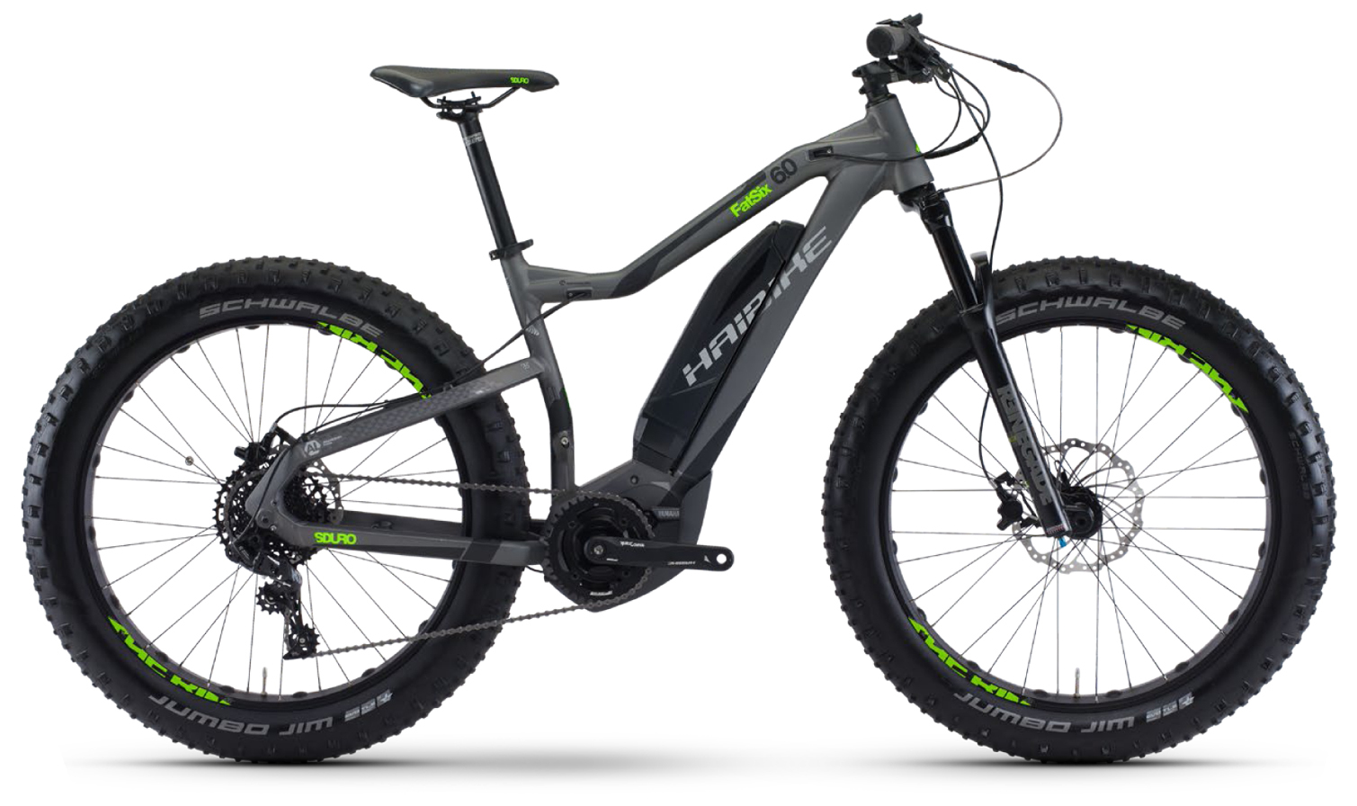 Haibike Sduro FatSix 6.0 (2017)Фэтбайки<br>Электровелосипед Haibike Sduro FatSix 6.0 – это надежный байк с запасом хода более 50 км. Он прекрасно подходит для бездорожья, песка и снега, поскольку его конструкция специально разработана для всесезонных условий катания. Велосипед обладает максимальной проходимостью за счет широких покрышек Schwalbe Jumbo Jim Evo на 26-дюймовых колесах. Также на нем установлена профессиональная трансмиссия Sram NX и дисковые гидравлические тормоза.<br>