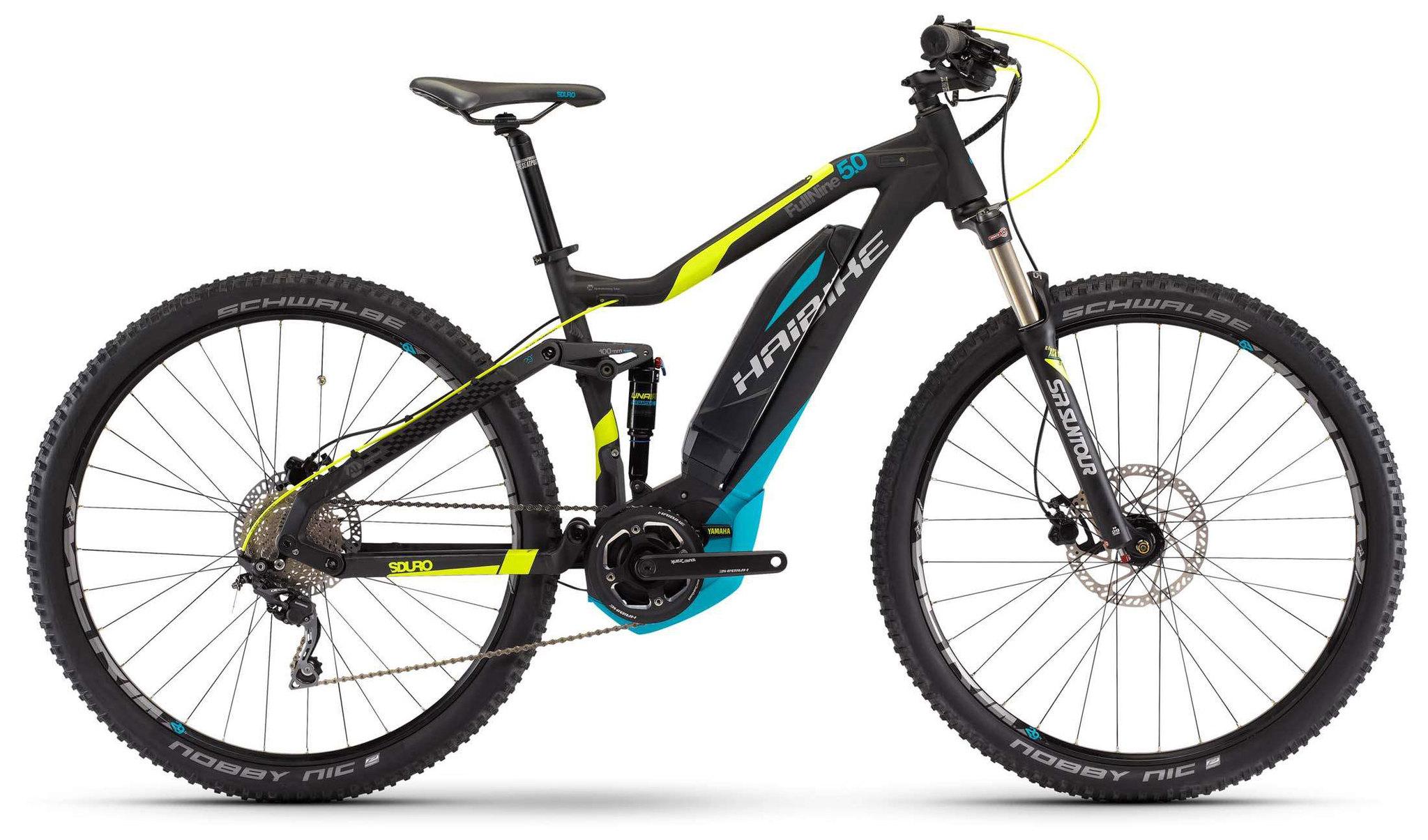 Haibike Sduro Full Nine 5.0 400Wh (2017)Горные<br>Haibike Sduro Fullnine - это двухподвес для трейлрайдинга, оснащенный мощным мотором и вместительной батареей. Алюминиевая рама позволила не только снизить вес велосипеда, но и увеличила общую прочность. За плавность при передвижении по бездорожью отвечает амортизатор SR Suntour SR15 Unair EB LO-R air. На раму установлен электромотор 350-500 Вт, заряда которого хватит на весьма продолжительное катание.<br>