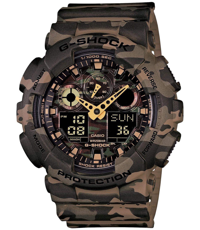 Casio G-SHOCK GA-100CM-5A / GA-100CM-5AER - мужские наручные часыCasio<br>Оригинальные камуфляжные часыCasio G-SHOCK GA-100CM-5A. Полный комплект. Гарантия 2 года. Бесплатная доставка по России.<br><br>Бренд: Casio<br>Модель: Casio GA-100CM-5A<br>Артикул: GA-100CM-5A<br>Вариант артикула: GA-100CM-5AER<br>Коллекция: G-SHOCK<br>Подколлекция: None<br>Страна: Япония<br>Пол: мужские<br>Тип механизма: кварцевые<br>Механизм: None<br>Количество камней: None<br>Автоподзавод: None<br>Источник энергии: от батарейки<br>Срок службы элемента питания: None<br>Дисплей: стрелки + цифры<br>Цифры: отсутствуют<br>Водозащита: WR 200<br>Противоударные: есть<br>Материал корпуса: пластик<br>Материал браслета: пластик<br>Материал безеля: None<br>Стекло: минеральное<br>Антибликовое покрытие: None<br>Цвет корпуса: None<br>Цвет браслета: None<br>Цвет циферблата: None<br>Цвет безеля: None<br>Размеры: 51.2x55x16.9 мм<br>Диаметр: None<br>Диаметр корпуса: None<br>Толщина: None<br>Ширина ремешка: None<br>Вес: 73 г<br>Спорт-функции: секундомер, таймер обратного отсчета<br>Подсветка: дисплея<br>Вставка: None<br>Отображение даты: вечный календарь, число, месяц, день недели<br>Хронограф: None<br>Таймер: None<br>Термометр: None<br>Хронометр: None<br>GPS: None<br>Радиосинхронизация: None<br>Барометр: None<br>Скелетон: None<br>Дополнительная информация: автоподсветка, повтор сигнала будильника, ежечасный сигнал, защитная функция антимагнит; элемент питания CR1220, срок службы батарейки 2 года<br>Дополнительные функции: второй часовой пояс, будильник (количество установок: 5)