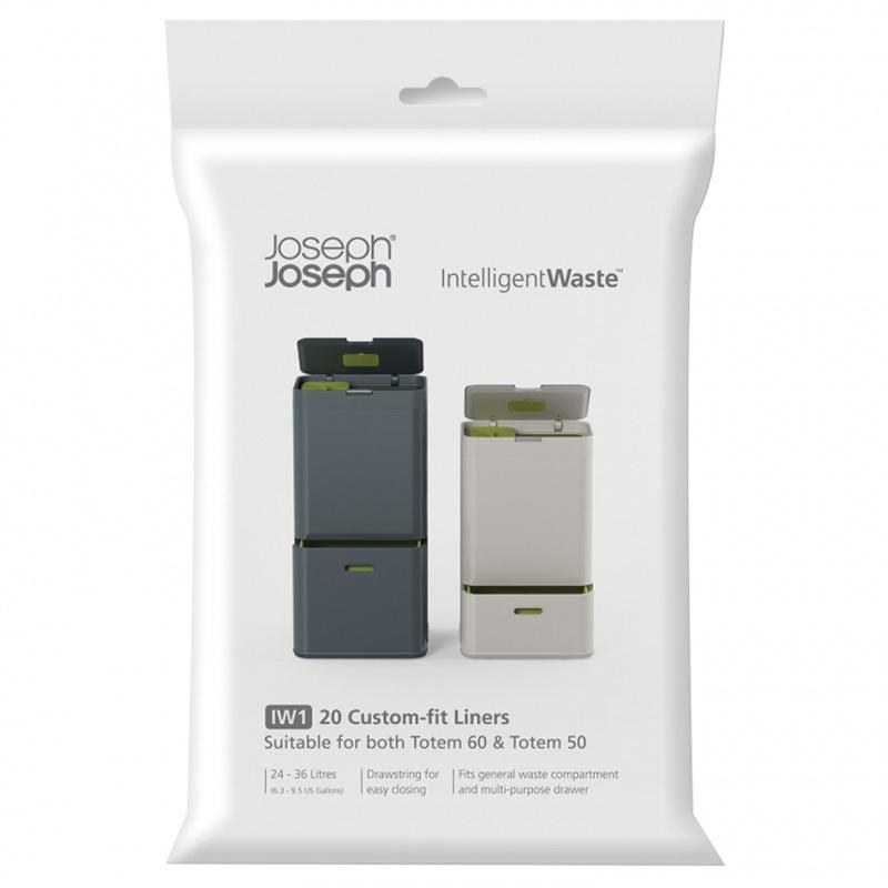 Пакеты для мусора Joseph Joseph General waste (20 штук) 30006Кухонные принадлежности Joseph Joseph (Великобритания)<br>Набор из 20 пакетов для сбора мусора из перерабатываемого пластика. Вместимость 24-36 литров. Компактно крепятся на внутренний бак контейнера Тотем с помощью резинок.<br>
