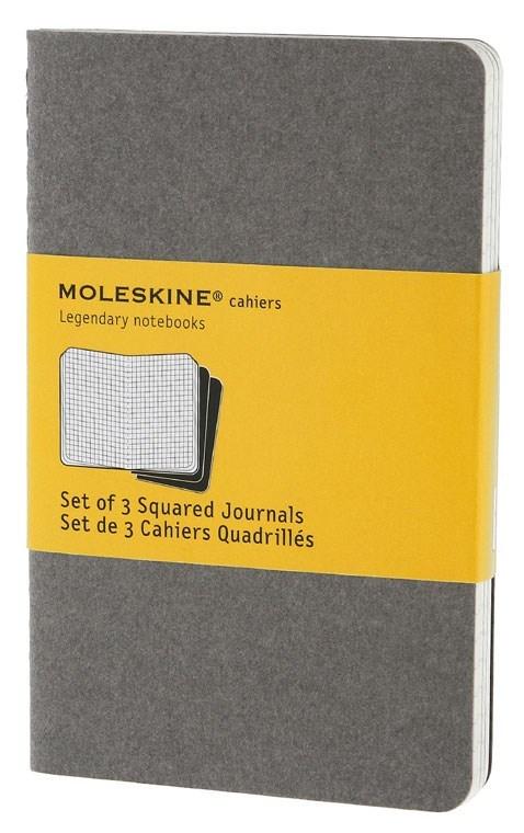 Набор 3 блокнота Moleskine Cahier Journal Pocket, цвет серый, в клеткуMOLESKINE<br><br>