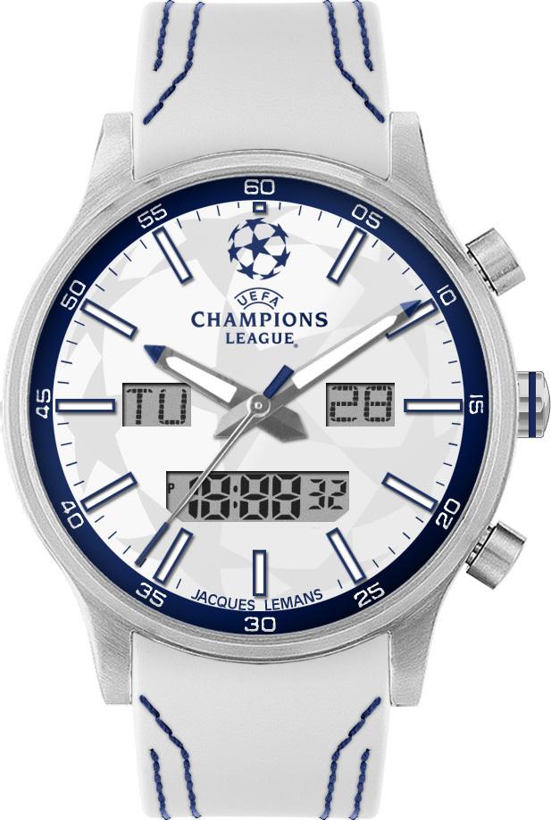Jacques Lemans U-40B - мужские наручные часы из коллекции UEFAJacques Lemans<br><br><br>Бренд: Jacques Lemans<br>Модель: Jacques Lemans U-40B<br>Артикул: U-40B<br>Вариант артикула: None<br>Коллекция: UEFA<br>Подколлекция: None<br>Страна: Австрия<br>Пол: мужские<br>Тип механизма: кварцевые<br>Механизм: None<br>Количество камней: None<br>Автоподзавод: None<br>Источник энергии: от батарейки<br>Срок службы элемента питания: None<br>Дисплей: стрелки + цифры<br>Цифры: отсутствуют<br>Водозащита: WR 10<br>Противоударные: None<br>Материал корпуса: нерж. сталь<br>Материал браслета: кожа<br>Материал безеля: None<br>Стекло: Crystex<br>Антибликовое покрытие: None<br>Цвет корпуса: None<br>Цвет браслета: None<br>Цвет циферблата: None<br>Цвет безеля: None<br>Размеры: 49 мм<br>Диаметр: None<br>Диаметр корпуса: None<br>Толщина: None<br>Ширина ремешка: None<br>Вес: None<br>Спорт-функции: None<br>Подсветка: стрелок<br>Вставка: None<br>Отображение даты: число, день недели<br>Хронограф: None<br>Таймер: None<br>Термометр: None<br>Хронометр: None<br>GPS: None<br>Радиосинхронизация: None<br>Барометр: None<br>Скелетон: None<br>Дополнительная информация: None<br>Дополнительные функции: None