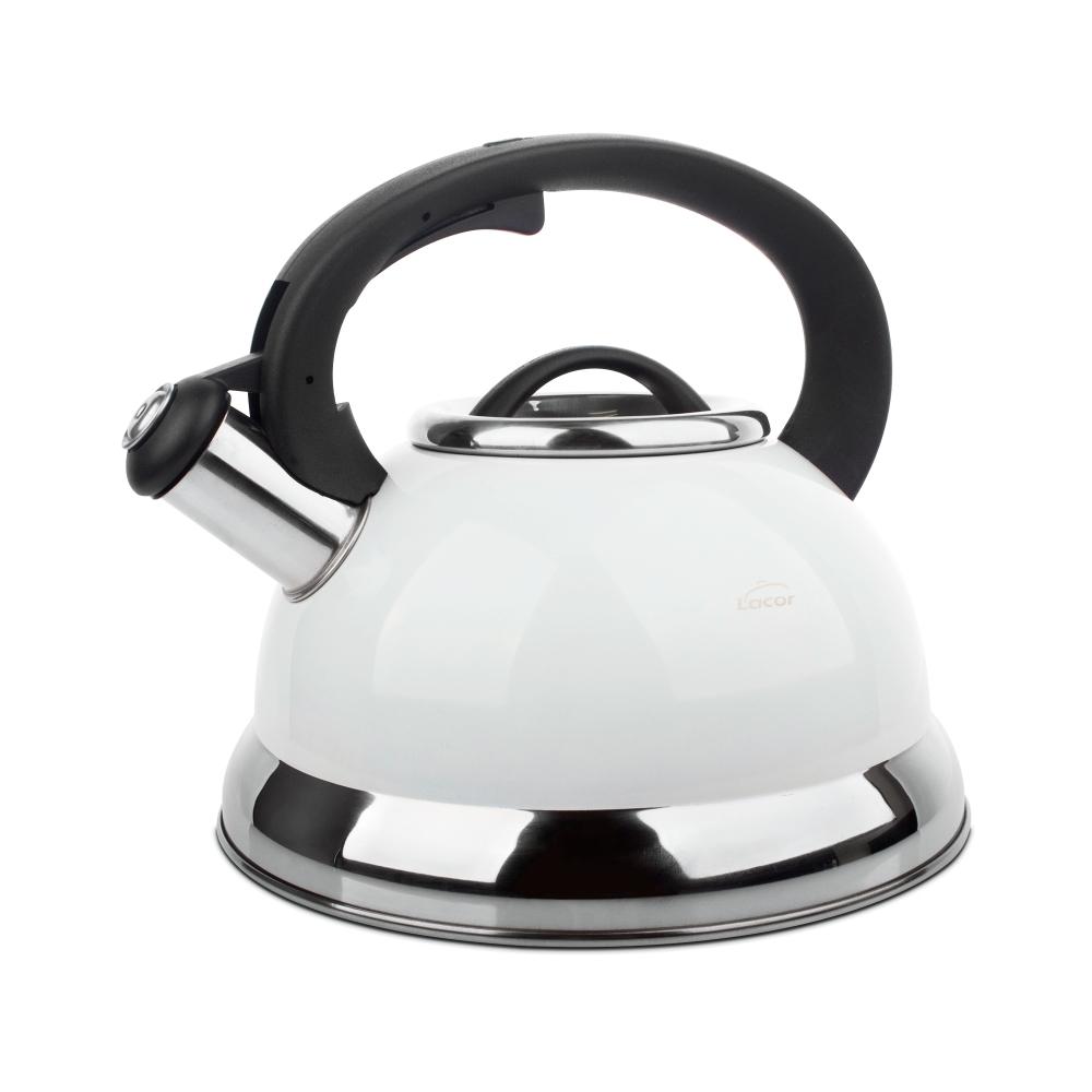 Чайник со свистком 2,5 л LACOR Termos арт. 68643Чайники со свистком<br>Чайник со свистком 2,5 л LACOR Termos арт. 68643<br><br>вид упаковки:подарочнаяматериал:нержавеющая стальобъем (л):2.50предметов в наборе (штук):1ручки:фиксированныестрана:Испаниятип варочной поверхности:все типы поверхностей, кроме духовки<br><br>Для любителей ароматного чая и кофе компания Lacor создала удобные чайники с системой «френч-пресс» и функциональные гейзерные кофеварки. В чайнике френч-пресс можно заваривать не только чай, но и кофе грубого помола.<br>Изготовлен он из термостойкого стекла и стальных поддерживающих элементов, оборудован удобной не нагревающейся пластиковой ручкой. Всего пара минут — и чаинки или кофейные зерна с помощью пресса опустятся на дно, а Вы сможете наслаждаться горячим вкусным напитком.<br>Миниатюрная гейзерная кофеварка из нержавеющей стали может стать отличной альтернативой громоздкой кофе-машине. Кофе, сваренный хозяином в «неэлектрической» посуде, получается особенно вкусным и ароматным, к тому же такая кофеварка окажется прекрасным подарком к любому празднику.<br>