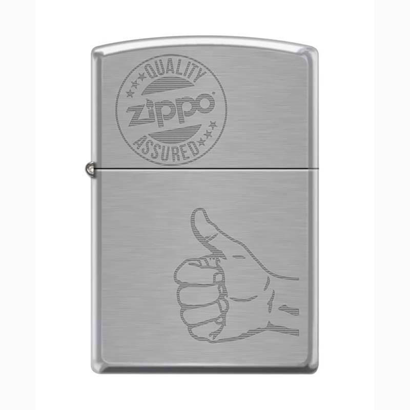 Зажигалка ZIPPO 200 Zippo Quality Assured, латунь/сталь с покрытием Brushed Chrome, 36x12x56 ммЗажигалки<br>• Brushed Chrome.• Гравировка знака качества Zippo на фронтальной поверхности.• Упакована в коробку, созданную из экологически чистых материалов.• Пожизненная гарантия.• Рекомендуем заправлять только первоклассным топливом Zippo.<br>