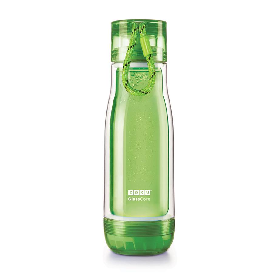 Бутылка Zoku 480 мл зеленая ZK128-GNБутылочки<br>Бутылка Zoku 480 мл зеленая ZK128-GN<br><br>Компактная бутылка Zoku идеально подойдет для тех кто регулярно занимается спортом и любит активный образ жизни. Герметичная конструкция защитит напитки от пролития а силиконовые накладки не дадут изделию разбиться при падении. В качестве основного материала изготовления производителем было использовано боросиликатное стекло за счет чего бутылка имеет не только привлекательный внешний вид но и высокую износостойкость. В нее можно налить как холодные так и горячие напитки температура которых будет поддерживаться длительное время благодаря плотной фиксации крышки и двойным стенкам корпуса. Доступные цветовые решения: красный голубой синий зеленый фиолетовый.<br>