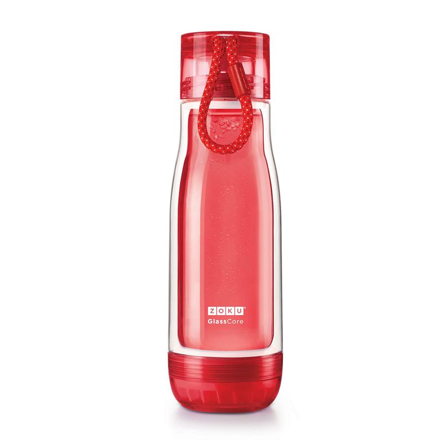 Бутылка Zoku 480 мл красная ZK128-RDБутылочки<br>Бутылка Zoku 480 мл красная ZK128-RD<br><br>Компактная бутылка Zoku идеально подойдет для тех кто регулярно занимается спортом и любит активный образ жизни. Герметичная конструкция защитит напитки от пролития а силиконовые накладки не дадут изделию разбиться при падении. В качестве основного материала изготовления производителем было использовано боросиликатное стекло за счет чего бутылка имеет не только привлекательный внешний вид но и высокую износостойкость. В нее можно налить как холодные так и горячие напитки температура которых будет поддерживаться длительное время благодаря плотной фиксации крышки и двойным стенкам корпуса. Доступные цветовые решения: красный голубой синий зеленый фиолетовый.<br>