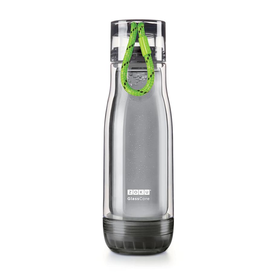 Бутылка Zoku Active 480 мл зеленая ZK128-AC-GNНовинки<br>Бутылка Zoku Active 480 мл зеленая ZK128-AC-GN<br><br>Компактная бутылка Zoku Active идеально подойдет для тех кто регулярно занимается спортом и любит активный образ жизни. Герметичная конструкция защитит напитки от пролития а силиконовые накладки не дадут изделию разбиться при падении. В качестве основного материала изготовления производителем было использовано боросиликатное стекло за счет чего бутылка имеет не только привлекательный внешний вид но и высокую износостойкость. В нее можно налить как холодные так и горячие напитки температура которых будет поддерживаться длительное время благодаря плотной фиксации крышки и двойным стенкам корпуса. Доступные цветовые решения: красный голубой синий зеленый фиолетовый.<br>