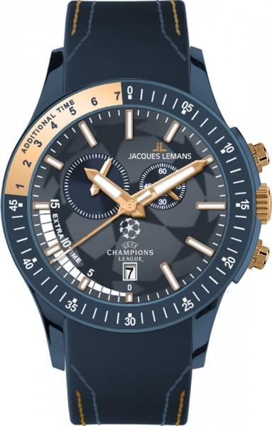 Jacques Lemans U-44A - мужские наручные часы из коллекции UEFAJacques Lemans<br><br><br>Бренд: Jacques Lemans<br>Модель: Jacques Lemans U-44A<br>Артикул: U-44A<br>Вариант артикула: None<br>Коллекция: UEFA<br>Подколлекция: None<br>Страна: Австрия<br>Пол: мужские<br>Тип механизма: кварцевые<br>Механизм: None<br>Количество камней: None<br>Автоподзавод: None<br>Источник энергии: от батарейки<br>Срок службы элемента питания: None<br>Дисплей: стрелки<br>Цифры: отсутствуют<br>Водозащита: WR 10<br>Противоударные: None<br>Материал корпуса: нерж. сталь, IP покрытие (полное)<br>Материал браслета: кожа<br>Материал безеля: None<br>Стекло: Crystex<br>Антибликовое покрытие: None<br>Цвет корпуса: None<br>Цвет браслета: None<br>Цвет циферблата: None<br>Цвет безеля: None<br>Размеры: 44 мм<br>Диаметр: None<br>Диаметр корпуса: None<br>Толщина: None<br>Ширина ремешка: None<br>Вес: None<br>Спорт-функции: секундомер<br>Подсветка: стрелок<br>Вставка: None<br>Отображение даты: число<br>Хронограф: есть<br>Таймер: None<br>Термометр: None<br>Хронометр: None<br>GPS: None<br>Радиосинхронизация: None<br>Барометр: None<br>Скелетон: None<br>Дополнительная информация: None<br>Дополнительные функции: None