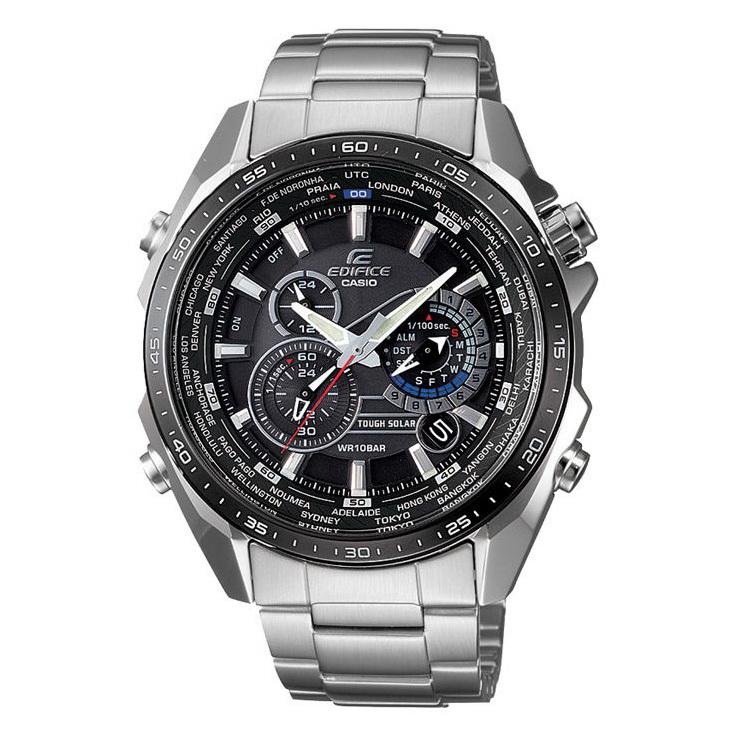 Часы Casio EQS-500DB-1A1ЧАСЫ CASIO<br>Характеристики:<br><br>Кварцевые часы с хронографом. <br>Подзарядка аккумулятора от энергии солнечного света. <br>Неоновый дисплей обеспечивает часам подсветку в темноте даже после кратковременного нахождения на свету. <br>Функция автоматического сохранения энергии. <br>Время работы аккумулятора без подзарядки - 6 месяцев, при включенной функции сохранения энергии - 28 месяцев. <br>Секундомер с точностью показаний 1/100 сек и максимальным временем измерения - 24 часа. <br>Отображение текущего времени в основных городах и регионах мира (29 временных зон). <br>Автоматический календарь. <br>Будильник с возможностью повтора сигнала. <br>Звуковой сигнал по истечении каждого часа. <br>Функция предупреждения о разрядке батареи. <br>Корпус и браслет из нержавеющей стали.<br> Минеральное стекло высокой прочности устойчиво к мелким механическим повреждениям. <br>Точность хода: не хуже +/-15 секунд в месяц. <br>Размеры корпуса 50х45,8х12,3 мм, вес 164 г.<br>