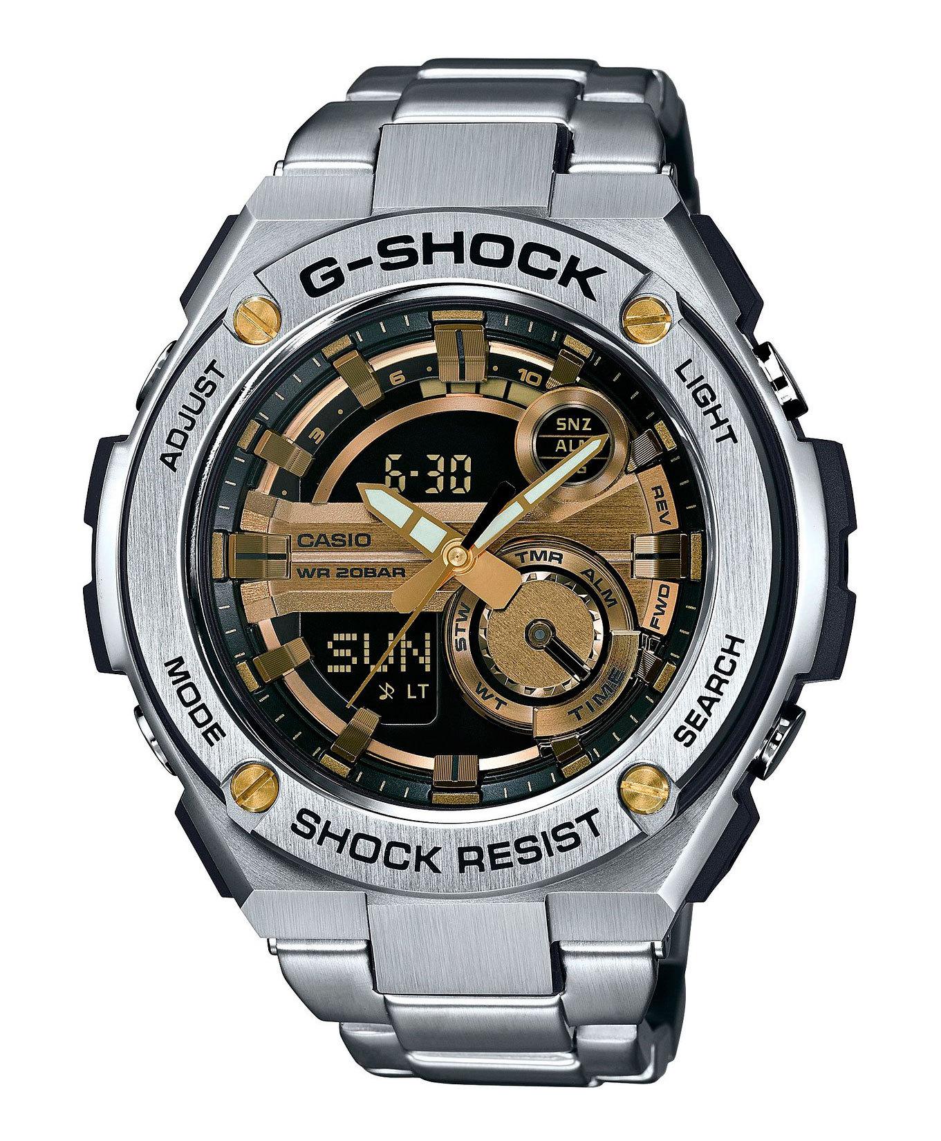 Casio G-SHOCK GST-210D-9A / GST-210D-9AER - мужские наручные часыCasio<br><br><br>Бренд: Casio<br>Модель: Casio GST-210D-9A<br>Артикул: GST-210D-9A<br>Вариант артикула: GST-210D-9AER<br>Коллекция: G-SHOCK<br>Подколлекция: None<br>Страна: Япония<br>Пол: мужские<br>Тип механизма: кварцевые<br>Механизм: None<br>Количество камней: None<br>Автоподзавод: None<br>Источник энергии: от батарейки<br>Срок службы элемента питания: None<br>Дисплей: стрелки + цифры<br>Цифры: None<br>Водозащита: WR 200<br>Противоударные: есть<br>Материал корпуса: нерж. сталь + пластик<br>Материал браслета: нерж. сталь<br>Материал безеля: None<br>Стекло: минеральное<br>Антибликовое покрытие: None<br>Цвет корпуса: None<br>Цвет браслета: None<br>Цвет циферблата: None<br>Цвет безеля: None<br>Размеры: 52.4x59.1x16.1 мм<br>Диаметр: None<br>Диаметр корпуса: None<br>Толщина: None<br>Ширина ремешка: None<br>Вес: 195 г<br>Спорт-функции: секундомер, таймер обратного отсчета<br>Подсветка: дисплея, стрелок<br>Вставка: None<br>Отображение даты: вечный календарь, число, месяц, день недели<br>Хронограф: None<br>Таймер: None<br>Термометр: None<br>Хронометр: None<br>GPS: None<br>Радиосинхронизация: None<br>Барометр: None<br>Скелетон: None<br>Дополнительная информация: None<br>Дополнительные функции: второй часовой пояс, будильник (количество установок: 5)