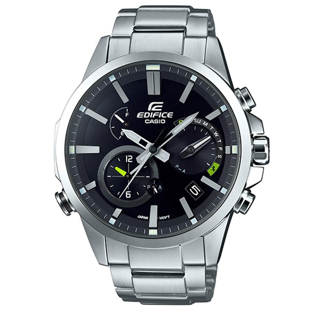 Casio Edifice EQB-700D-1A / EQB-700D-1AER - мужские наручные часыCasio<br><br><br>Бренд: Casio<br>Модель: Casio EQB-700D-1A<br>Артикул: EQB-700D-1A<br>Вариант артикула: EQB-700D-1AER<br>Коллекция: Edifice<br>Подколлекция: None<br>Страна: Япония<br>Пол: мужские<br>Тип механизма: кварцевые<br>Механизм: None<br>Количество камней: None<br>Автоподзавод: None<br>Источник энергии: от солнечной батареи<br>Срок службы элемента питания: None<br>Дисплей: стрелки<br>Цифры: отсутствуют<br>Водозащита: WR 100<br>Противоударные: None<br>Материал корпуса: нерж. сталь<br>Материал браслета: нерж. сталь<br>Материал безеля: None<br>Стекло: минеральное<br>Антибликовое покрытие: None<br>Цвет корпуса: None<br>Цвет браслета: None<br>Цвет циферблата: None<br>Цвет безеля: None<br>Размеры: 52.1 x 48.2 x 13.3 мм<br>Диаметр: None<br>Диаметр корпуса: None<br>Толщина: None<br>Ширина ремешка: None<br>Вес: 161 г<br>Спорт-функции: секундомер<br>Подсветка: стрелок<br>Вставка: None<br>Отображение даты: вечный календарь, число, день недели<br>Хронограф: None<br>Таймер: None<br>Термометр: None<br>Хронометр: None<br>GPS: None<br>Радиосинхронизация: None<br>Барометр: None<br>Скелетон: None<br>Дополнительная информация: Bluetooth, авиарежим, функция сохранения энергии, работоспособность в полной темноте до 7 месяцев в обычном режиме и до 33 месяцев в режиме сохранения энергии<br>Дополнительные функции: индикатор запаса хода, второй часовой пояс, будильник