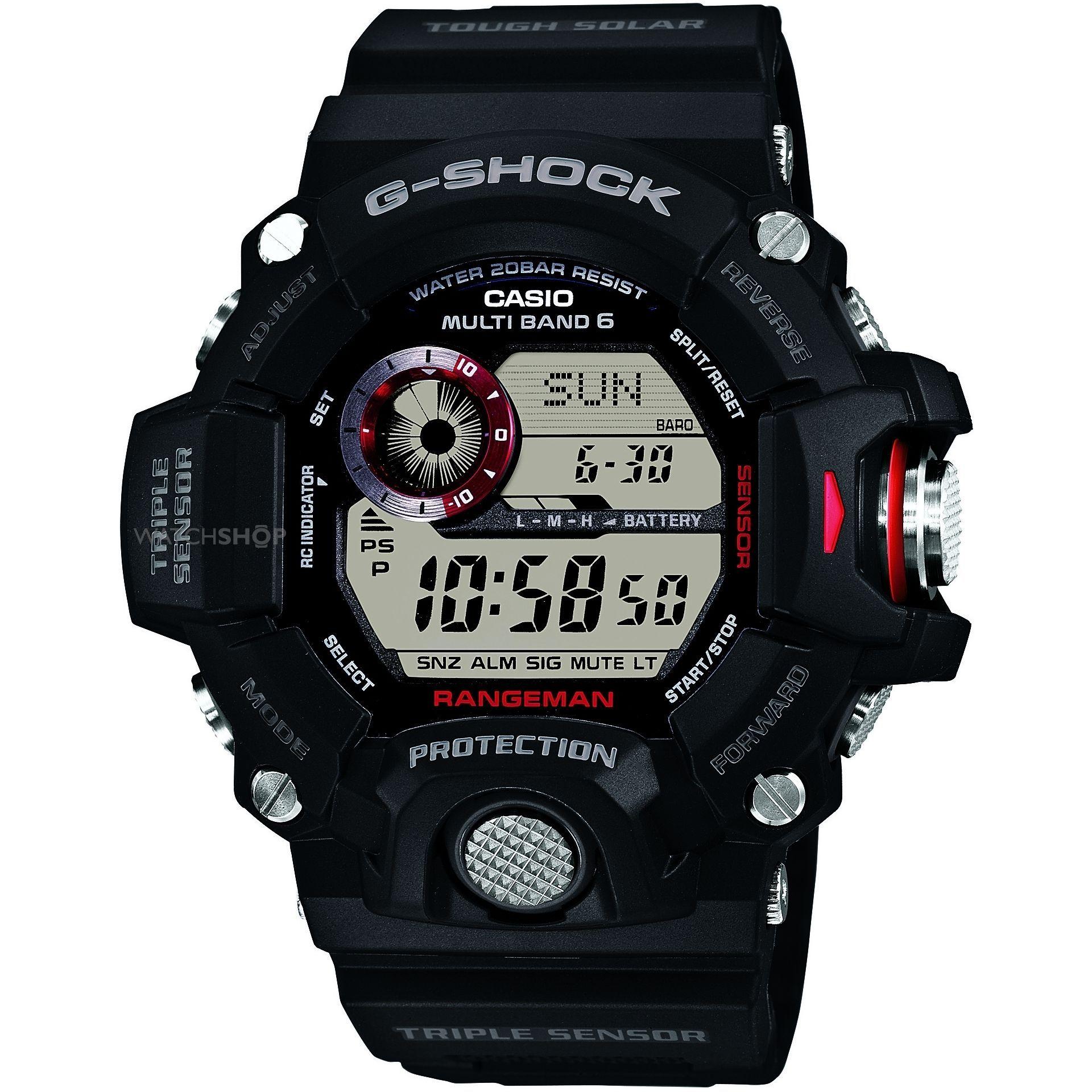Casio G-SHOCK GW-9400-1E / GW-9400-1ER - мужские наручные часыCasio<br><br><br>Бренд: Casio<br>Модель: Casio GW-9400-1E<br>Артикул: GW-9400-1E<br>Вариант артикула: GW-9400-1ER<br>Коллекция: G-SHOCK<br>Подколлекция: None<br>Страна: Япония<br>Пол: мужские<br>Тип механизма: кварцевые<br>Механизм: None<br>Количество камней: None<br>Автоподзавод: None<br>Источник энергии: от солнечной батареи<br>Срок службы элемента питания: None<br>Дисплей: цифры<br>Цифры: None<br>Водозащита: WR 200<br>Противоударные: есть<br>Материал корпуса: пластик<br>Материал браслета: пластик<br>Материал безеля: None<br>Стекло: минеральное<br>Антибликовое покрытие: None<br>Цвет корпуса: None<br>Цвет браслета: None<br>Цвет циферблата: None<br>Цвет безеля: None<br>Размеры: 53.5x55.2x18.2 мм<br>Диаметр: None<br>Диаметр корпуса: None<br>Толщина: None<br>Ширина ремешка: None<br>Вес: 93 г<br>Спорт-функции: секундомер, таймер обратного отсчета, высотомер, барометр, термометр, компас<br>Подсветка: дисплея<br>Вставка: None<br>Отображение даты: вечный календарь, число, месяц, день недели<br>Хронограф: None<br>Таймер: None<br>Термометр: None<br>Хронометр: None<br>GPS: None<br>Радиосинхронизация: None<br>Барометр: None<br>Скелетон: None<br>Дополнительная информация: автоподсветка, коррекция времени по радиосигналу, ежечасный сигнал, повтор сигнала будильника, отображение времени восхода и захода Солнца, функция сохранения энергии, функция включения/отключения звука кнопок, время работы аккумулятора без подзарядки - 8 месяцев, с использованием функции сохранения энергии - 23 месяца<br>Дополнительные функции: индикатор запаса хода, второй часовой пояс, будильник (количество установок: 5)