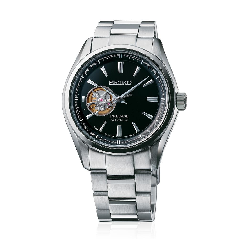 Наручные часы SeikoSeiko Presage<br>Мужские механические часы. Корпус этих часов среднего размера (41 мм.) и выполнен из нержавеющей стали. Модель Presage SSA357J1 имеет сапфировое стекло, стальной браслет металлического цвета, чёрный циферблат. Водоустойчивость: 100 метров.<br>