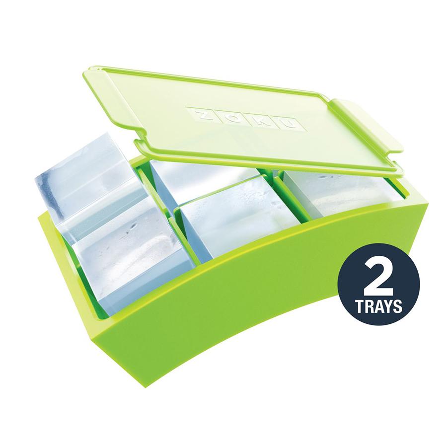 Набор форм для льда Zoku Jumbo 2 шт. ZK136Посуда для приготовления<br>Набор форм для льда Zoku Jumbo 2 шт. ZK136<br><br>При помощи набора форм Jumbo Ice Trays Set вы сможете приготовить идеально ровные кубики льда для ваших напитков. Вода заливается в шесть одинаковых отсеков после чего их плотно запечатывают крышкой предотвращающий переливы во время установки в морозильную камеру. Гибкие силиконовые стенки позволяют удобно извлечь готовый лед не нарушив целостность кубиков.<br>