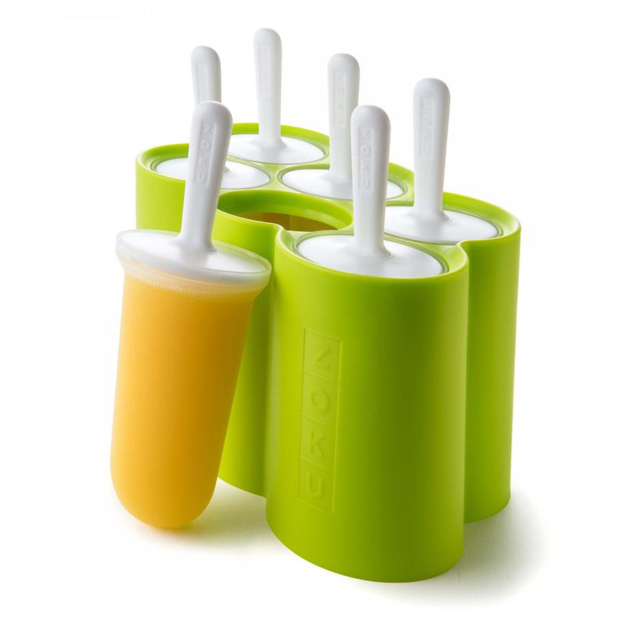 Форма для мороженого Zoku Classic 6 шт. ZK114Посуда для приготовления<br>Форма для мороженого Zoku Classic 6 шт. ZK114<br><br>При помощи компактной формы Classic Pop Mold вы сможете быстро и без усилий создавать вкуснейшие десерты на основе натуральных ингредиентов. Для этого достаточно всего лишь предварительно охладить устройство в морозильной камере вставить в специальные отверстия порционные палочки и залить формы жидкостью. Благодаря инновационной системе готовый продукт вы получите уже через 7 минут! И для этого не нужно использовать никаких дополнительных приспособлений! Украсьте вечеринку или семейный ужин оригинальными лакомствами – порадуйте своих близких друзей и знакомых. Форма рассчитана на 6 порций.<br>