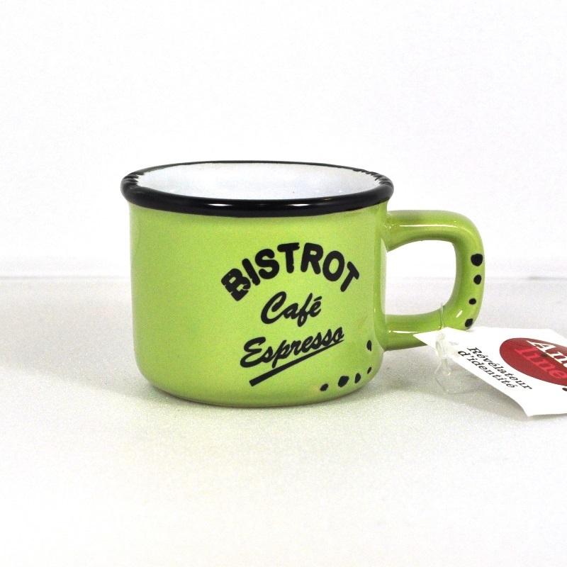 Кофейная чашка-кружечка эспрессо салатовая (Фарфор и керамика Antic Line, Франция)Фарфор и керамика Antic Line, Франция<br>Кофейная чашка-кружечка эспрессо салатовая <br>Керамика, стилизовано под эмалированный металл    <br>Высота 4,5 см <br>Производитель: Antic Line, Франция<br>